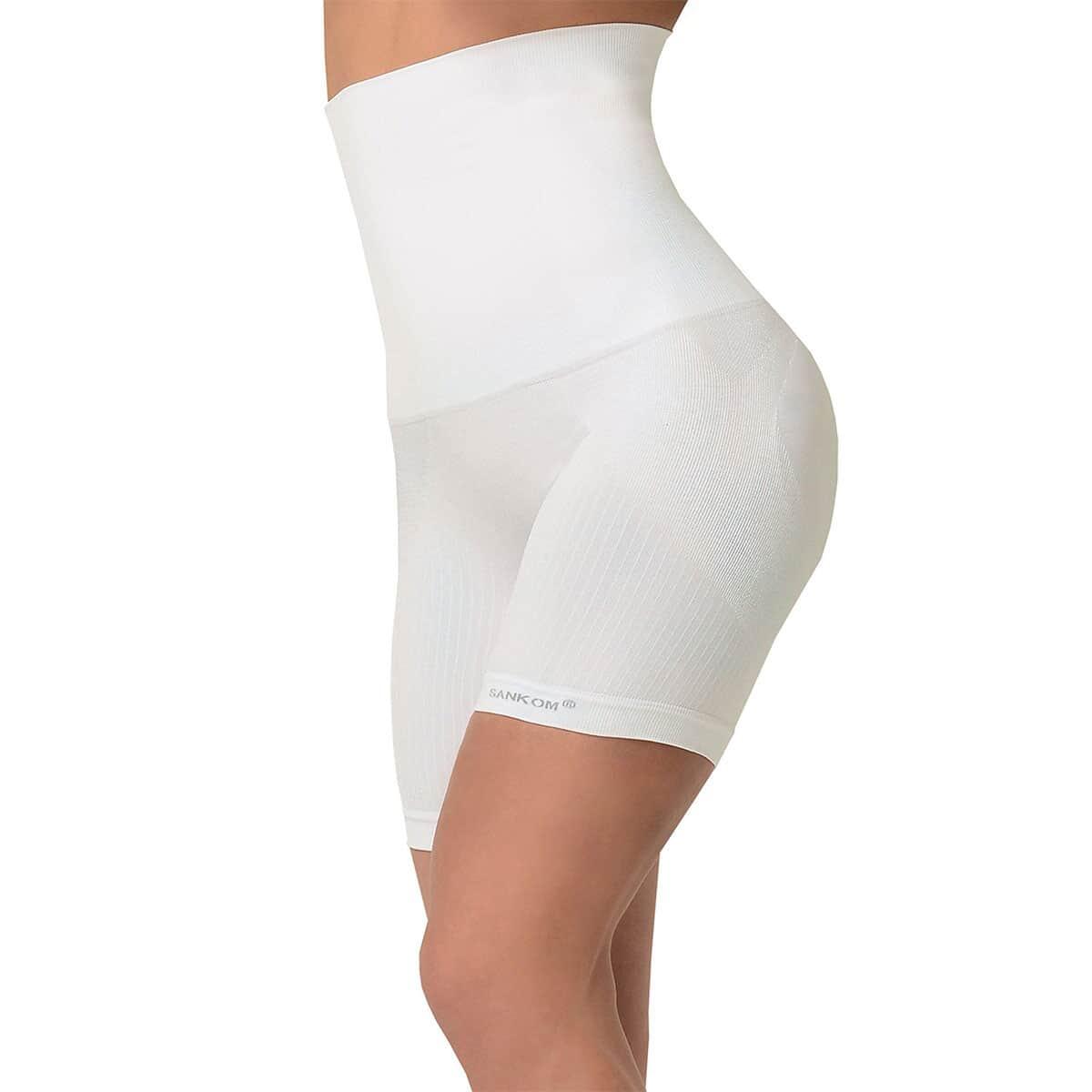 SANKOM Patent Mid-Thigh Shaper with Pearl Fibers - L/XL | White