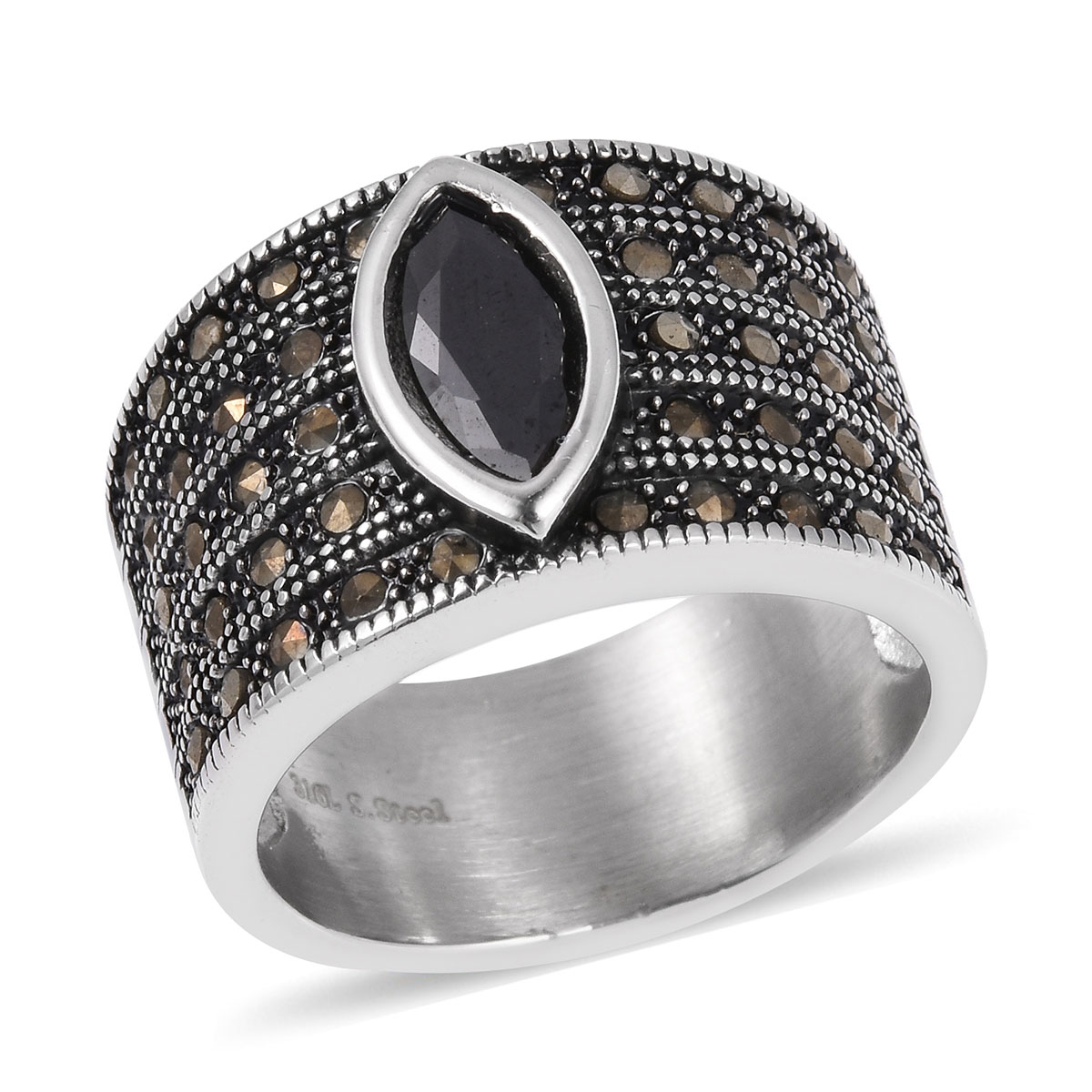 925 Sterling Silver Round Cubic Zircon CZ Champagne Marcasite Statement Ring for Women Cttw 0.8