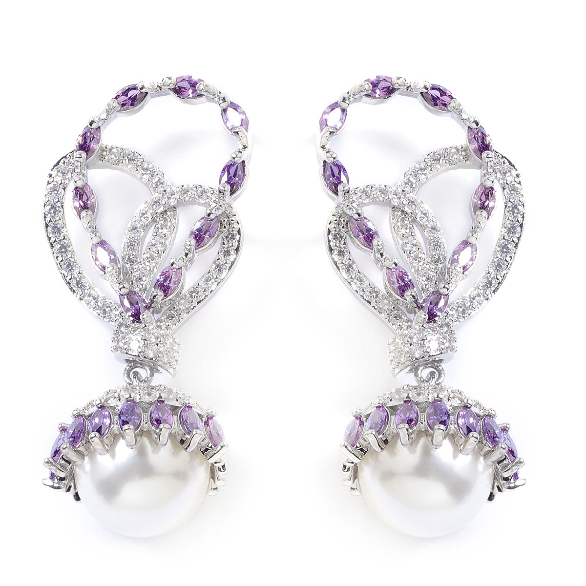 Purple And White Cz Simulated Pearl Drop Earrings In Silvertone 4 00 Ctw