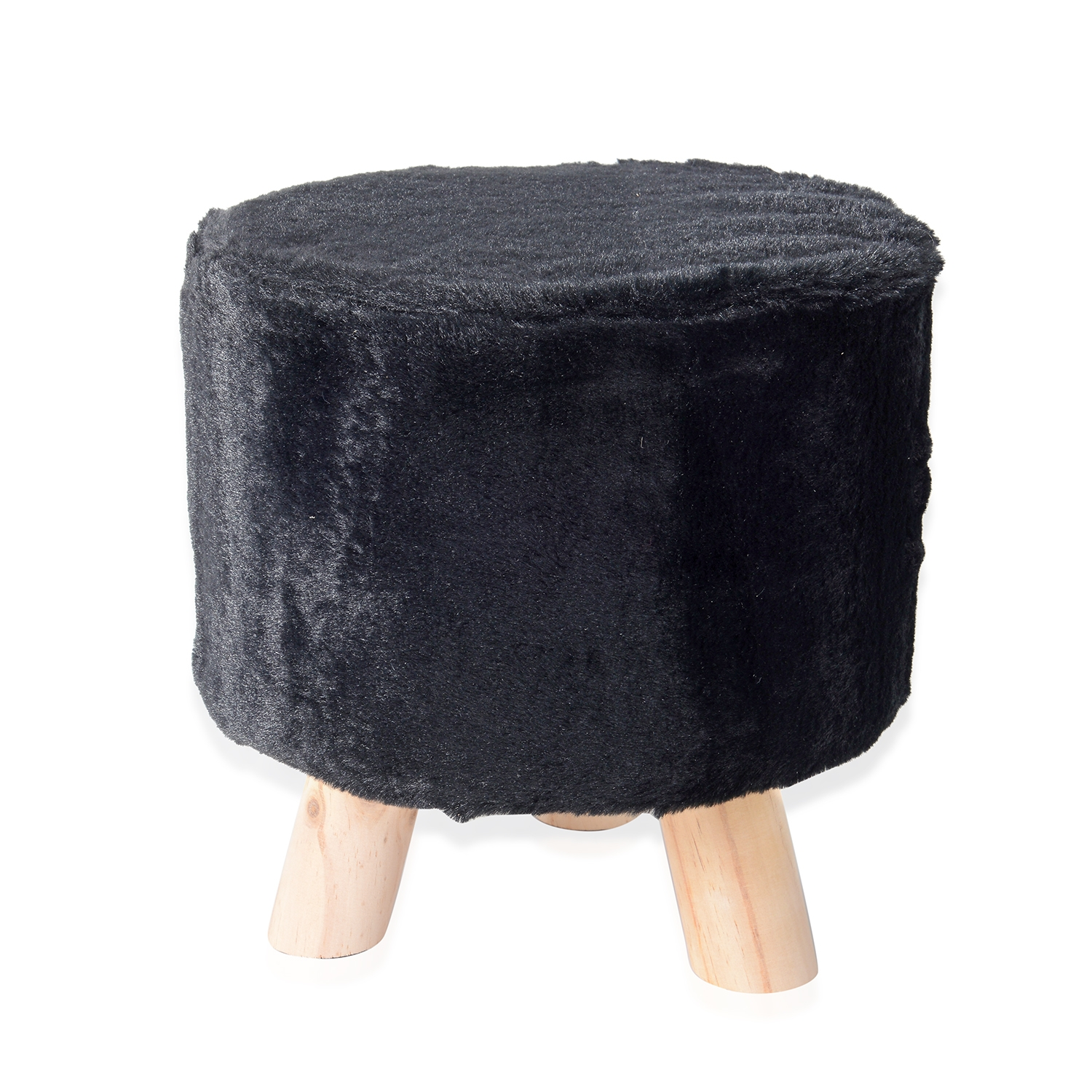 Astonishing Black Faux Fur Round Wooden Stool 11X11 In Cjindustries Chair Design For Home Cjindustriesco