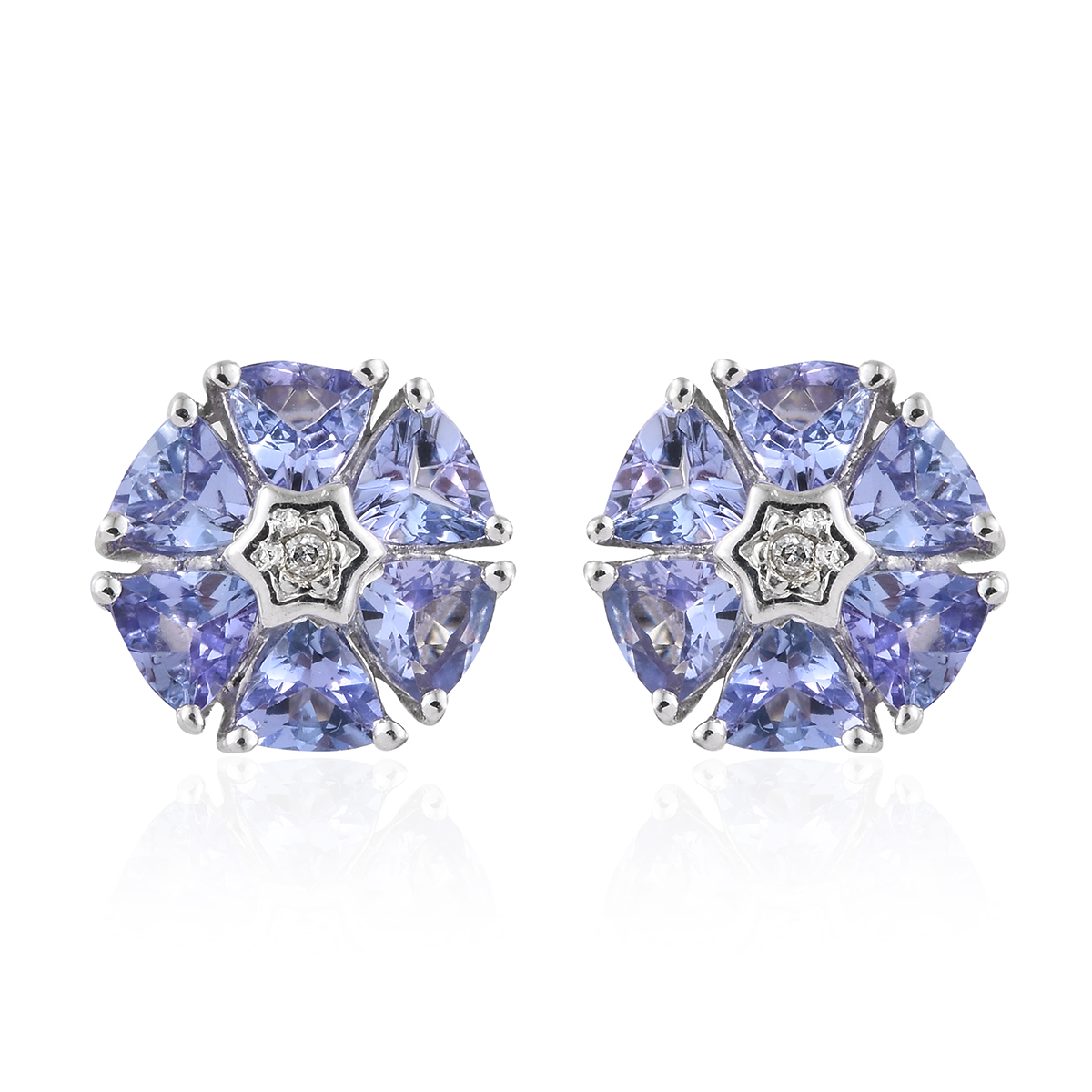4150819e79d3a Tanzanite, Diamond Accent Platinum Over Sterling Silver Floral Stud  Earrings TGW 2.05 cts.