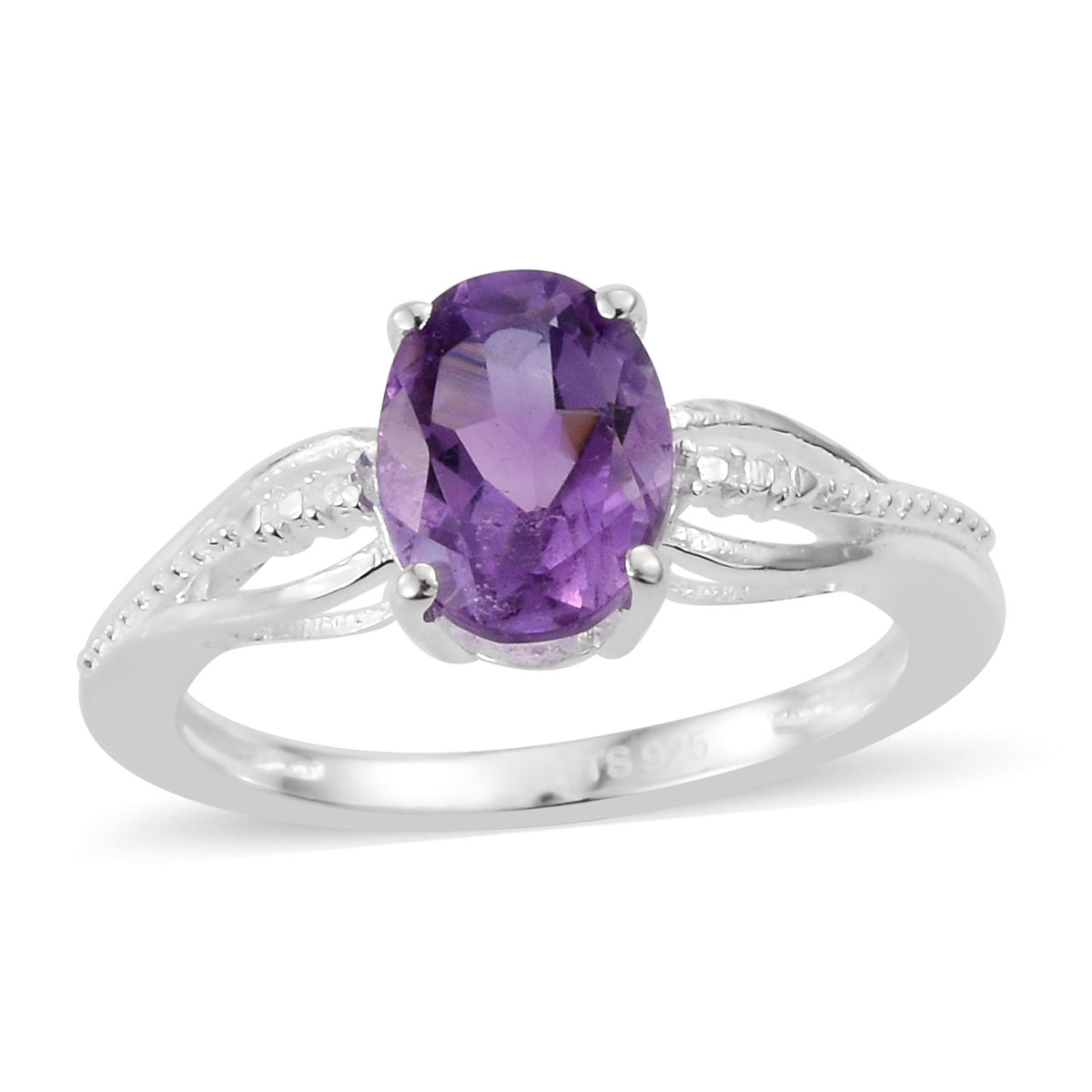 Amethyst Ring in Platinum Over Sterling Silver (Size 5.0) 1.15 ctw