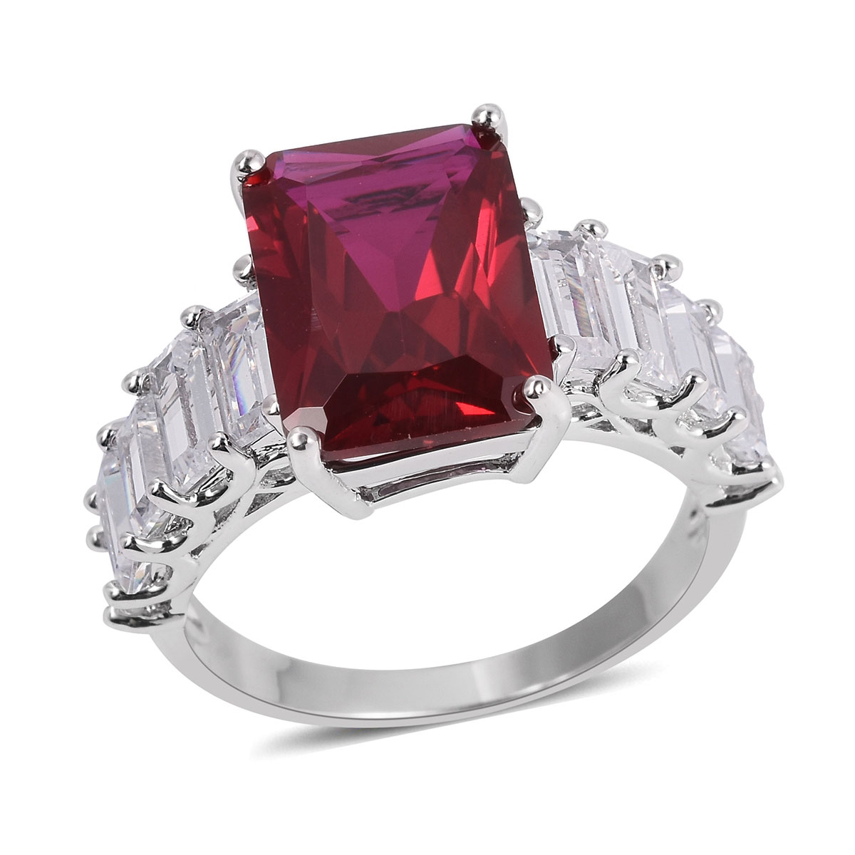 Ruby and White CZ Ring in Silvertone (Size 10.0) 10.00 ctw