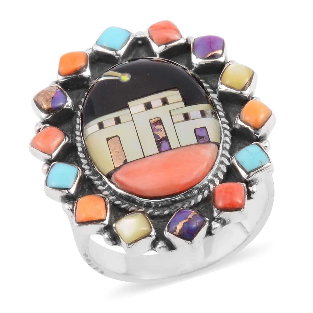 Santa Fe Style Black Onyx, Multi Gemstone Night Pueblo Ring in Sterling Silver (Size 7.0) 3.00 ctw