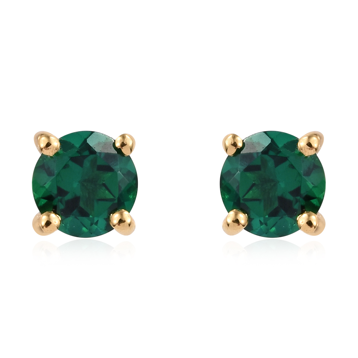 f4bb2fba0eac9 Lab Created Emerald 14K YG Over Sterling Silver Stud Earrings 0.90 ctw