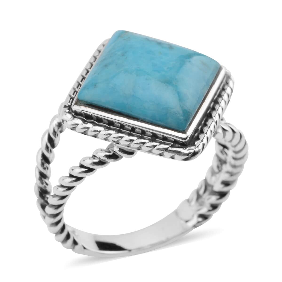 Santa Fe Style Kingman Turquoise Split Ring in Sterling Silver (Size 10.0) 4.00 ctw