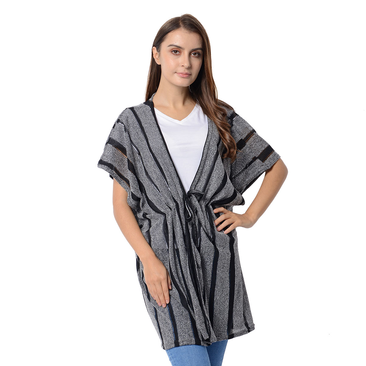 7e7f4701e4f0b Gray and Black Striped Kimono (31.5x31.5 in, 100% Polyester) | Shop LC