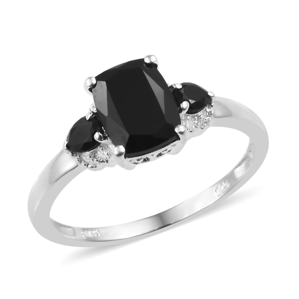 Thai Black Spinel Ring In Sterling Silver Size 5 0 3 19