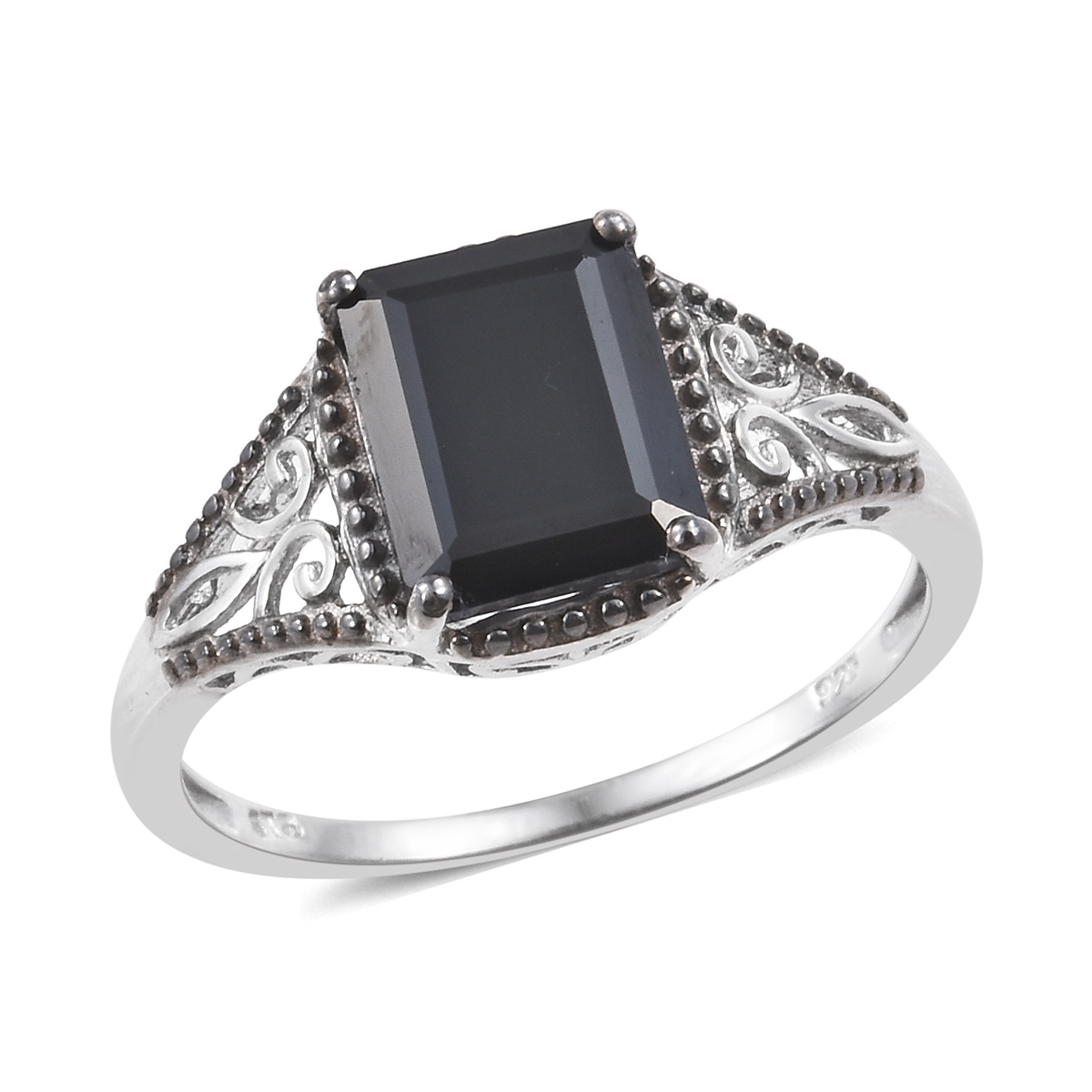 Thai Black Spinel Platinum Over Sterling Silver Ring (Size 6.0) TGW 4.00 cts.