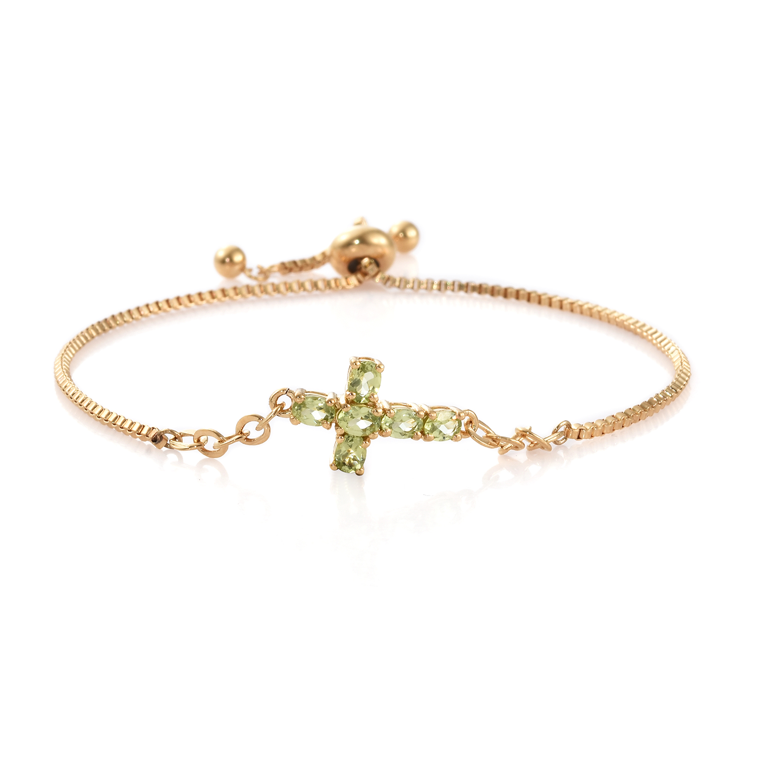 KARIS - Hebei Peridot Side Cross Bolo Bracelet in ION Plated 18K YG Brass & ION Plated YG Stainless Steel (Adjustable) 1.10 ctw