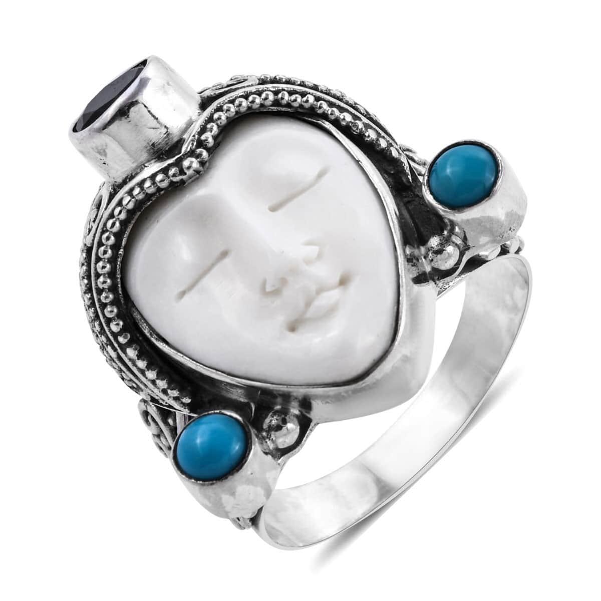 Bali Goddess Carved Bone Multi Gemstone Ring In Sterling Silver Size 9 0 Avg 11 91 G 1 45 Ctw Shop Lc