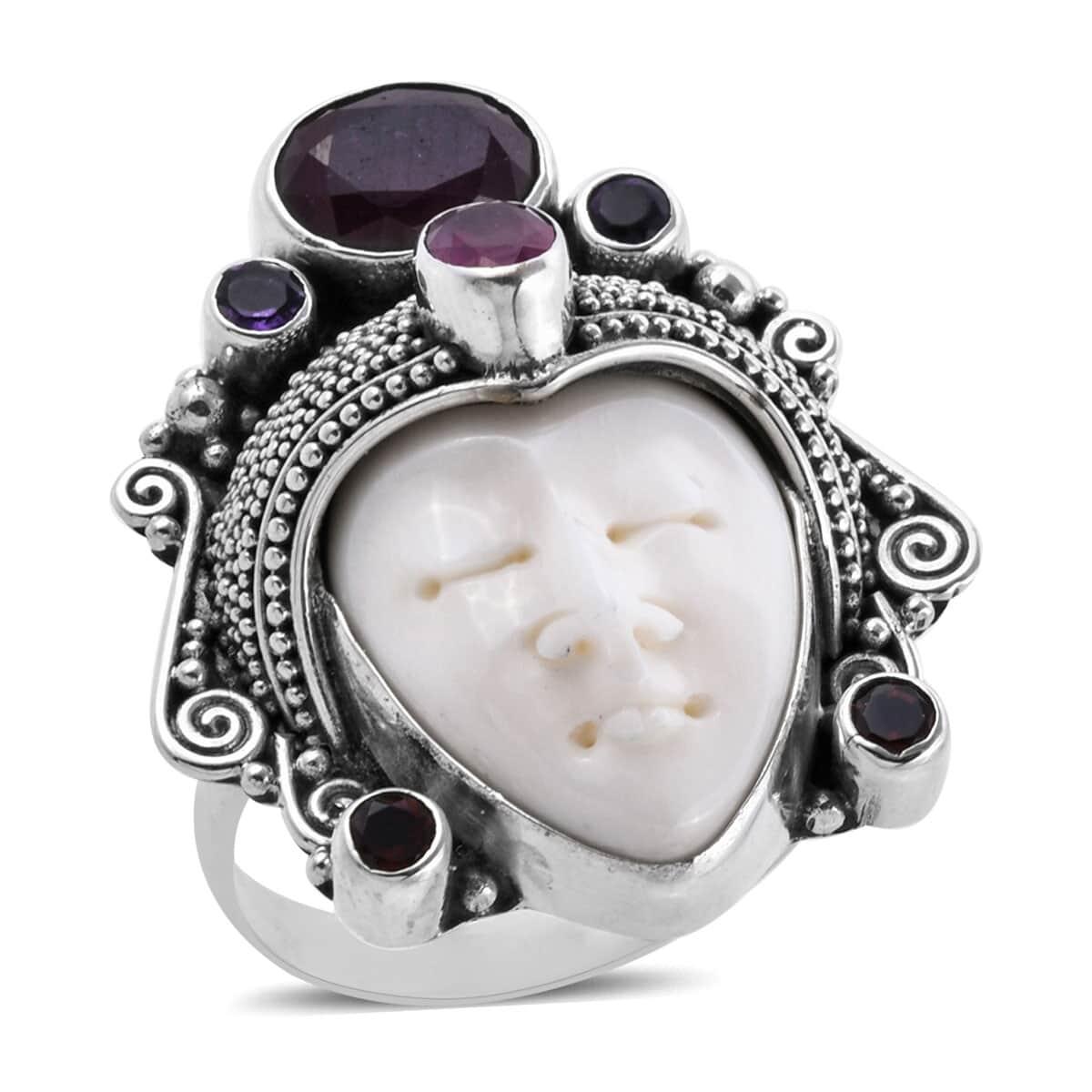 Bali Goddess Carved Bone, Multi Gemstone Ring in Sterling Silver (Size 8.0) (Avg. 11.97 g) 3.81 ctw