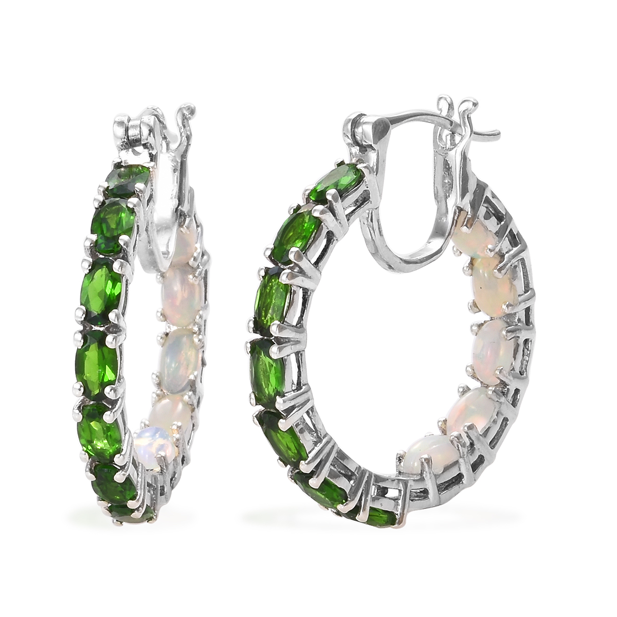 5143a8300f162 Russian Diopside, Ethiopian Welo Opal Inside Out Hoop Earrings in Platinum  Over Sterling Silver 4.90 ctw
