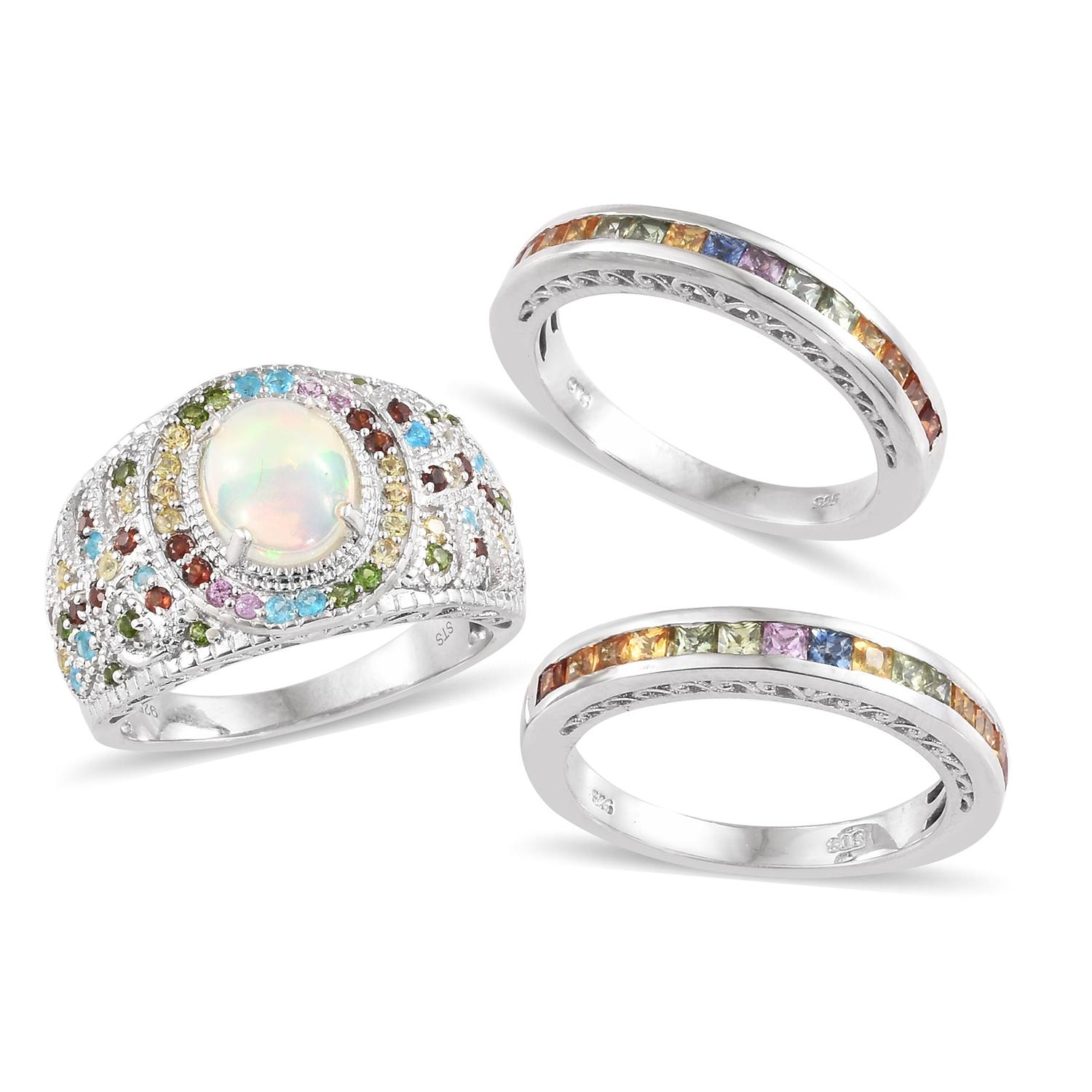 Ethiopian Welo Opal, Multi Gemstone Ring Set in Platinum Over Sterling Silver (Size 6) 5.25 ctw