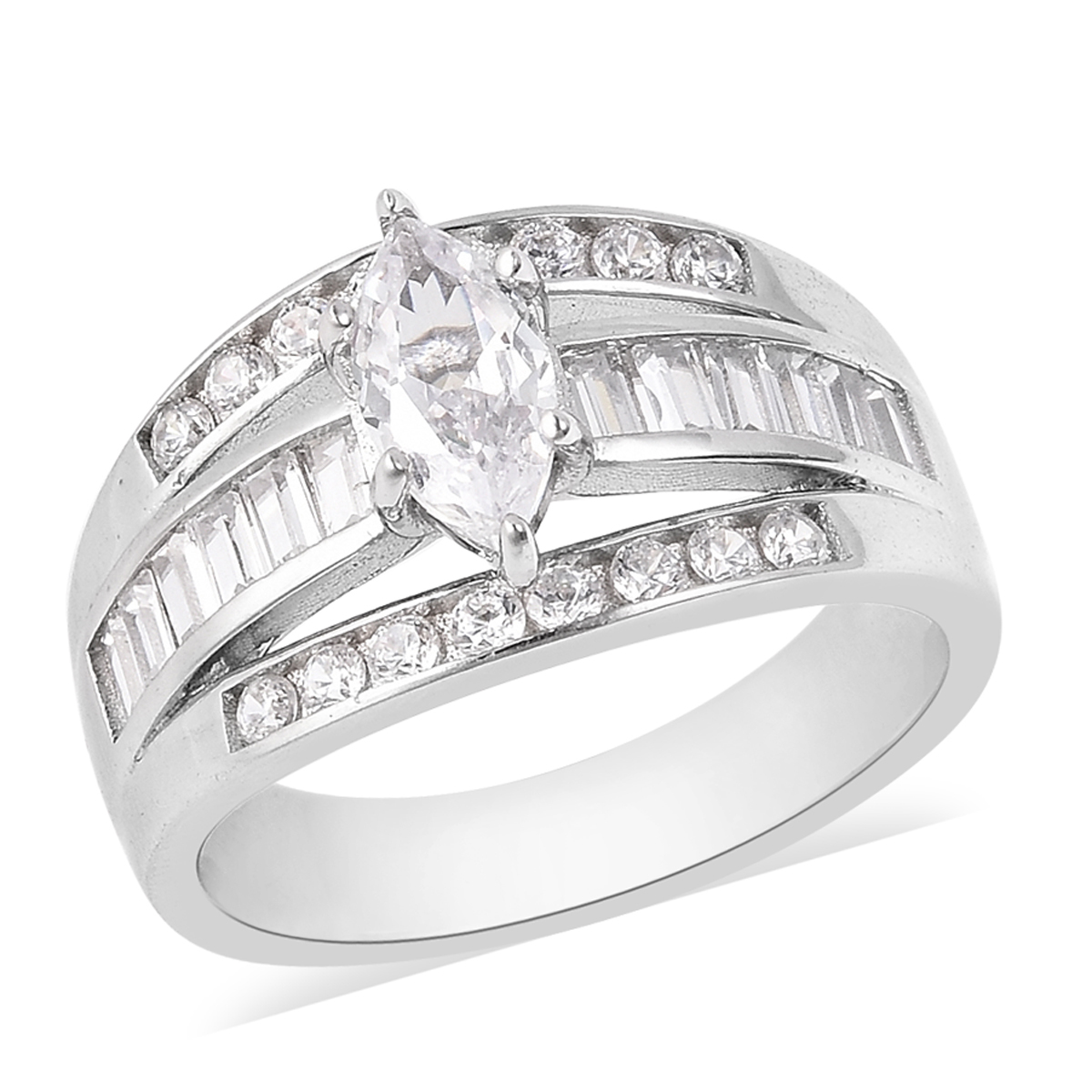 White CZ Ring in Sterling Silver (Size 10.0) 3.49 ctw