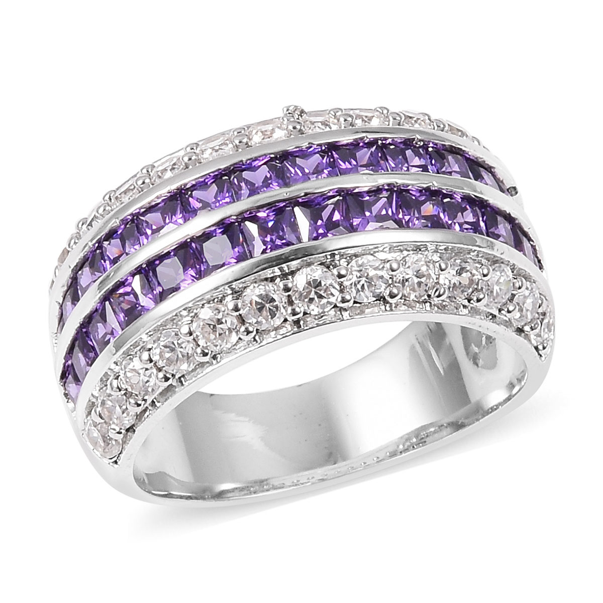 Purple and White CZ Ring in Silvertone (Size 6.0) 4.81 ctw