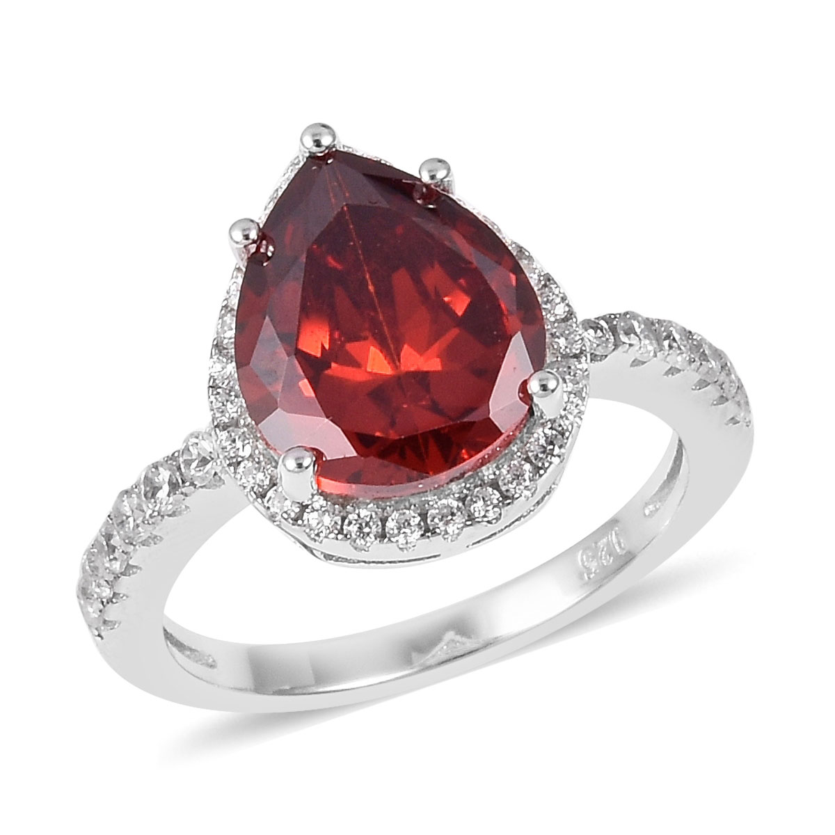 Red and White CZ Ring in Sterling Silver (Size 9.0) 4.69 ctw