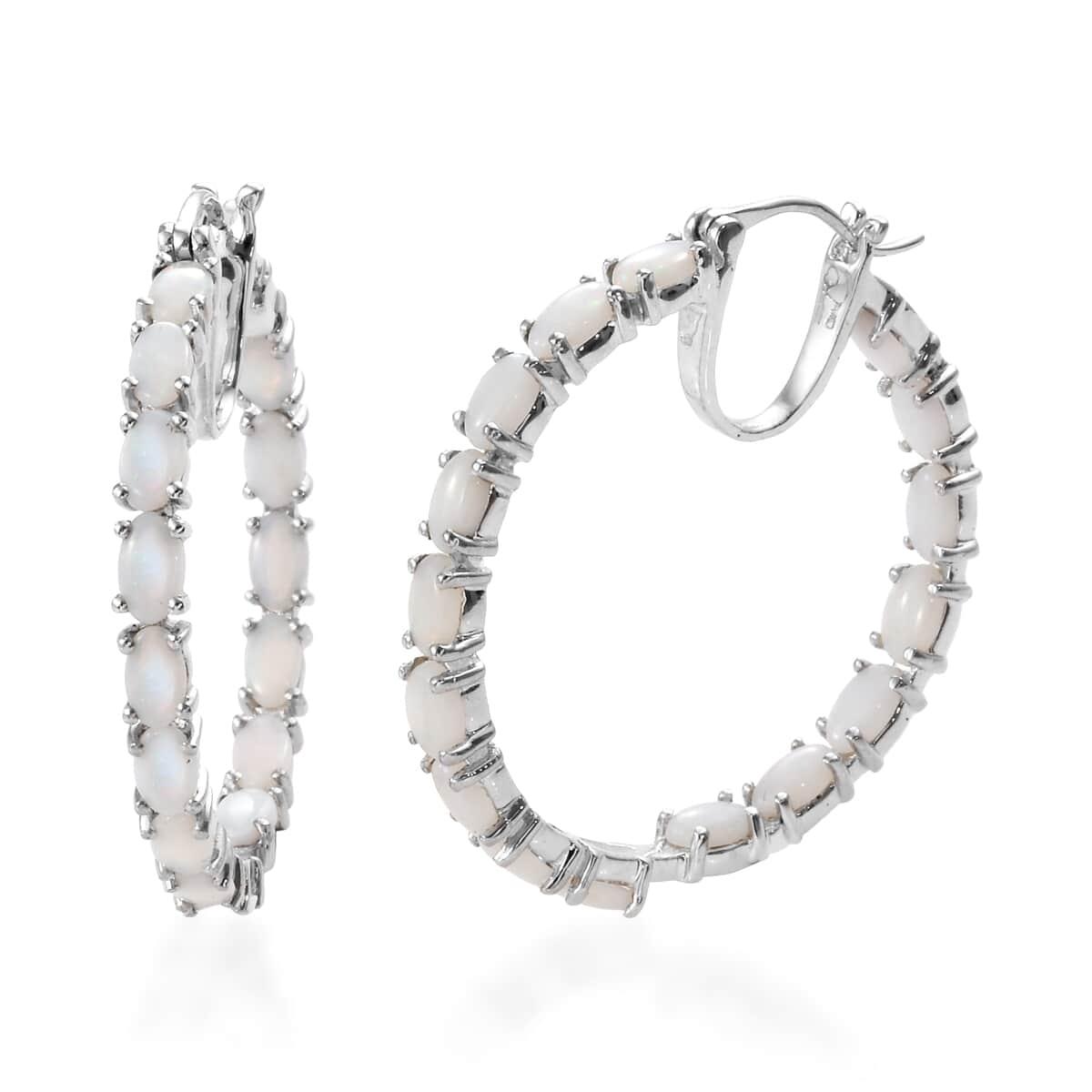 ab9954543faa4 Australian White Opal Inside Out Hoop Earrings in Platinum Over Sterling  Silver 5.10 ctw
