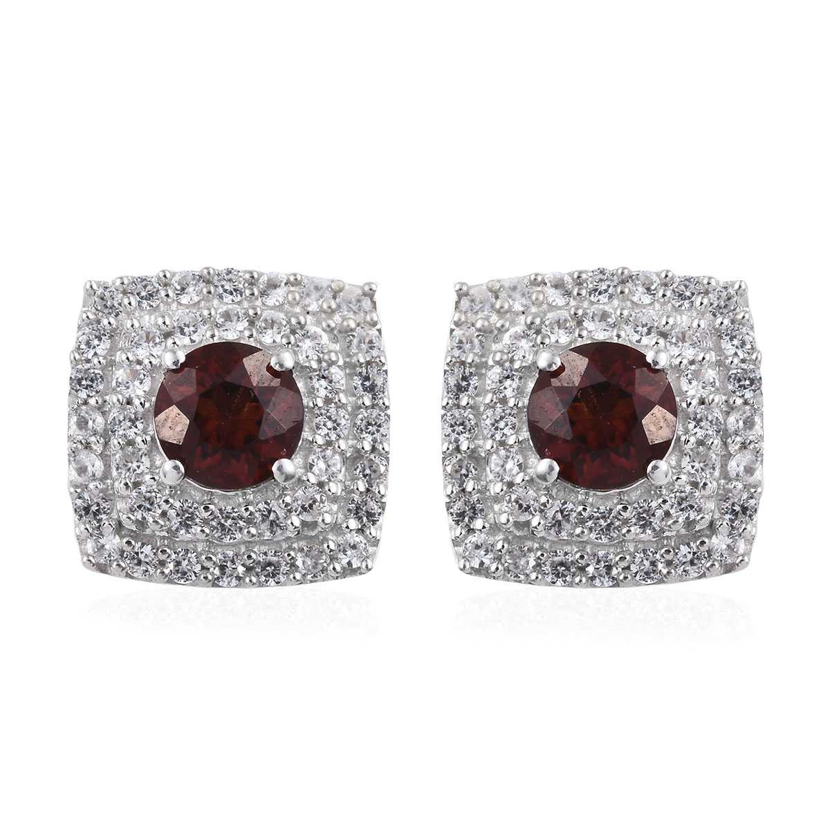 Red Citrine, Zircon Stud Earrings in Platinum Over Sterling Silver 2.95 ctw
