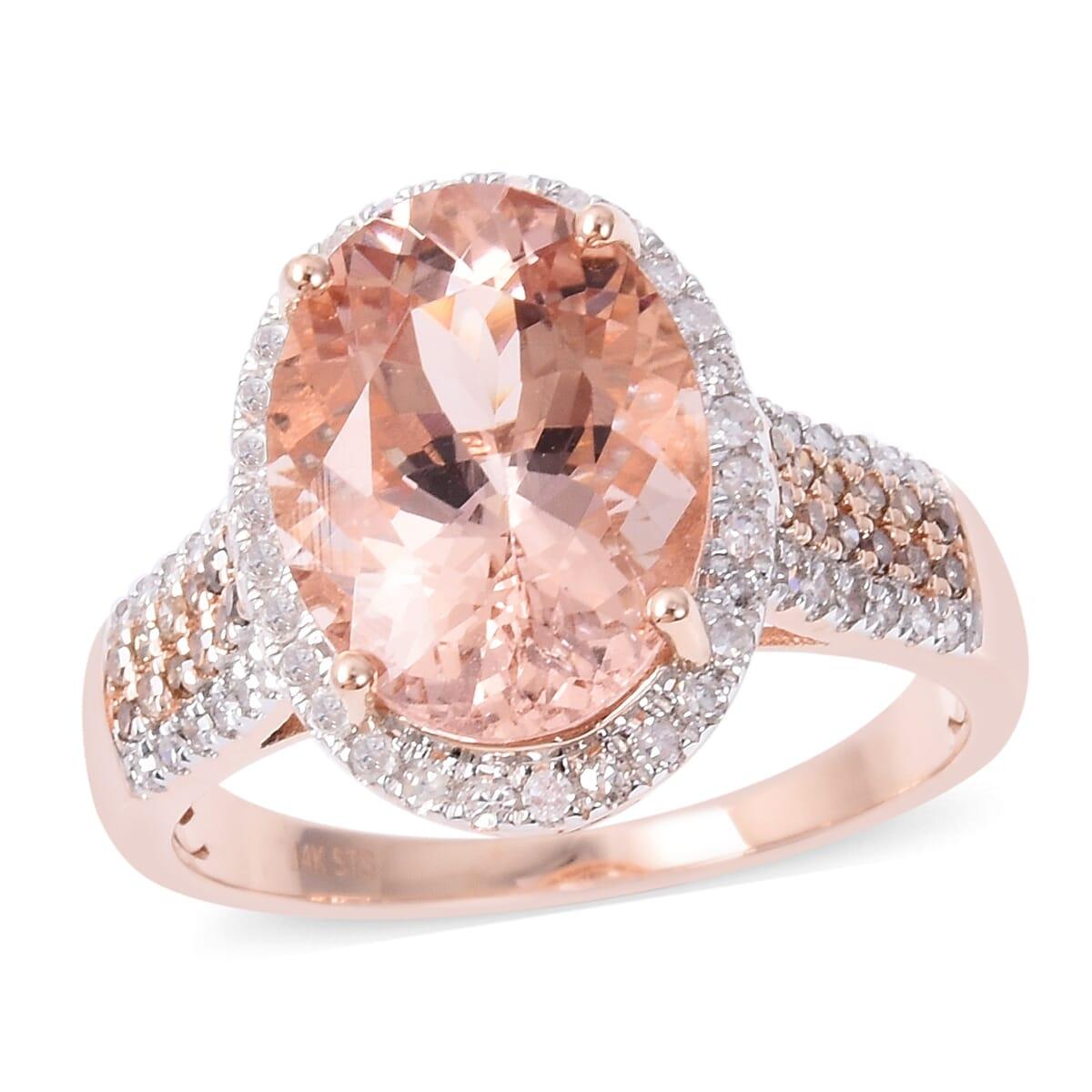 342c19597eb9f Marropino Morganite, Natural Champagne Diamond, Diamond Ring (Size 7.0) in  14K Rose Gold 6.05 ctw