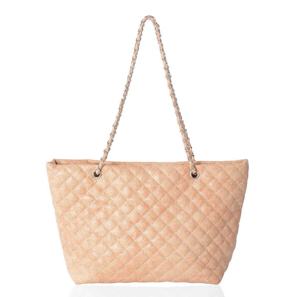 6295f0d4f Beige Quilted Faux Leather Shoulder Bag with Chain Strap (16x5x9 in) | Shop  LC