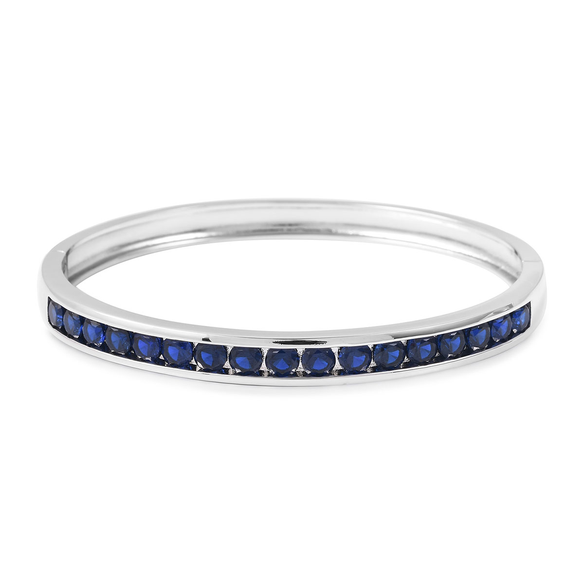 Blue CZ Bangle Bracelet in Silvertone (8 in) 5.10 ctw