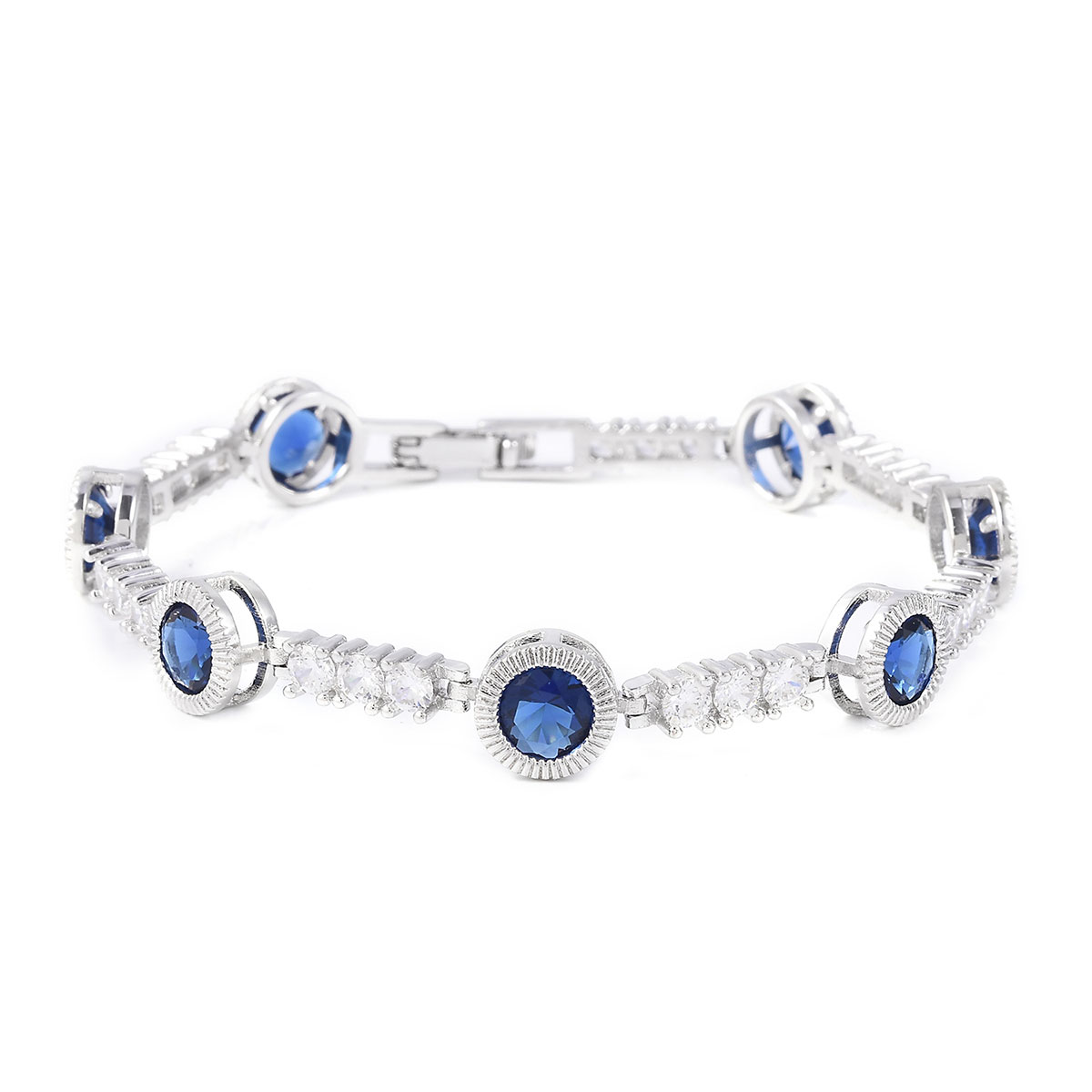 Shop LC Delivering Joy Sapphire Blue Color Glass White Cubic Zirconia CZ Bangle Bracelet in Silvertone 8 inch