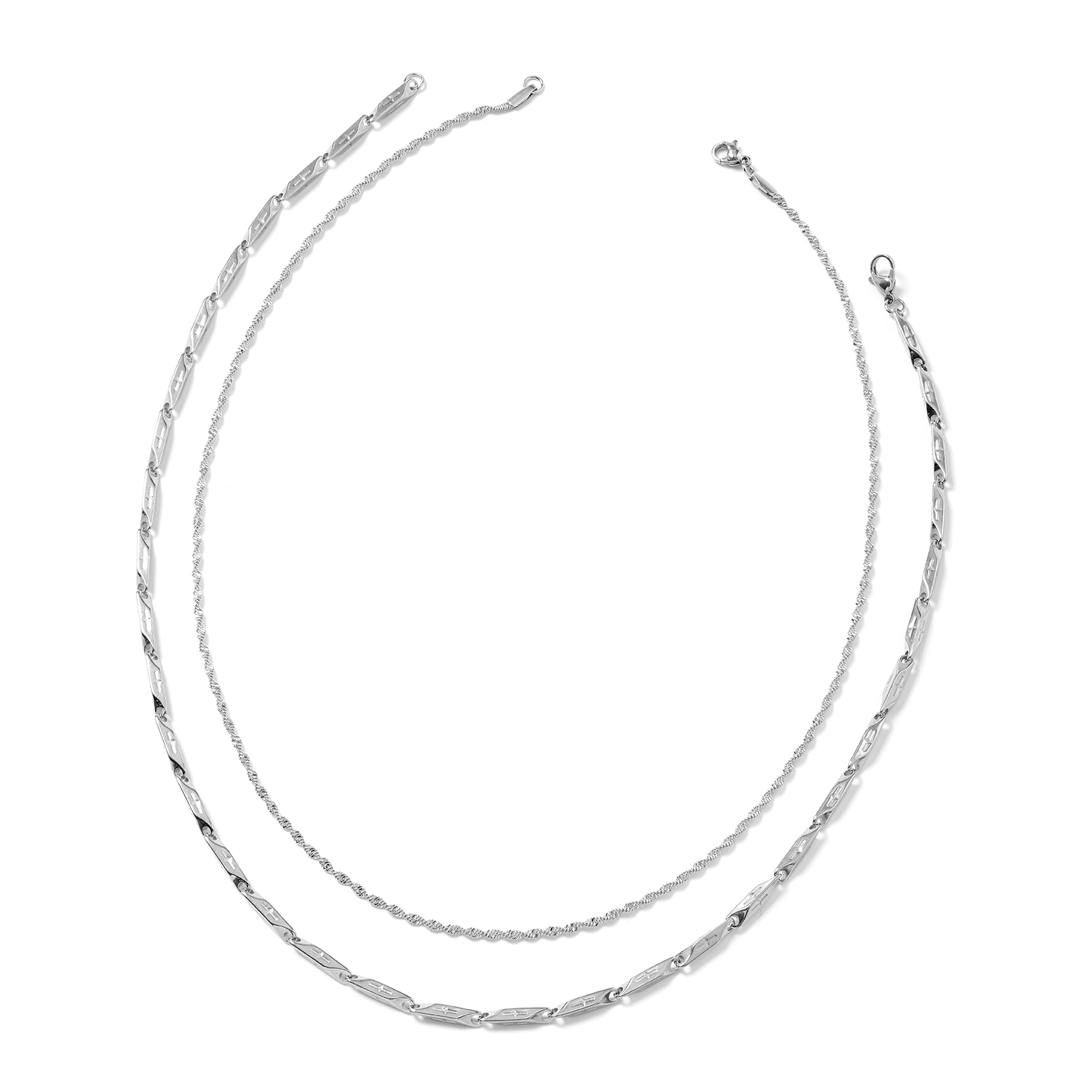 Stainless Steel Set of 2 Singapore and Fancy Link Necklace (20 in)