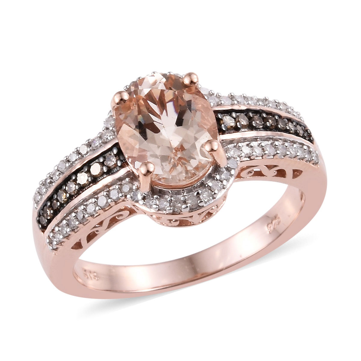 6f78c53150378 Marropino Morganite, Natural Champagne and White Diamond (0.35 ct) Ring in  Rhodium & Vermeil RG Over Sterling Silver (Size 10.0) 2.75 ctw
