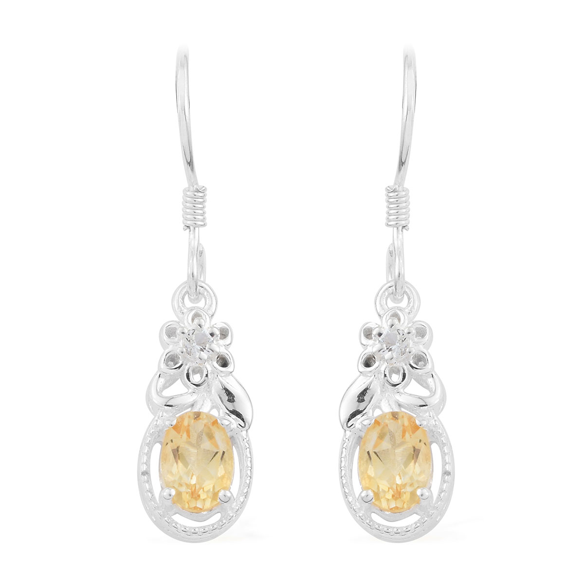 Details About 925 Sterling Silver Citrine White Topaz Earrings Gift Jewelry For Women Ct 1 3
