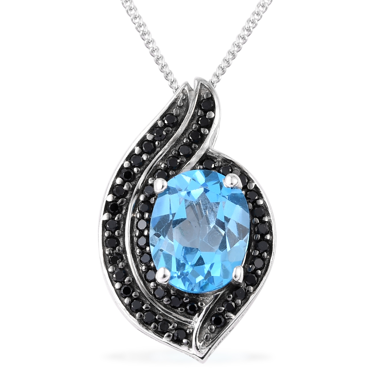 7b62239e495c63 Details about Silver Black Rhodium Plated Topaz Black Spinel Pendant  Necklace 20'' Cttw 2.2