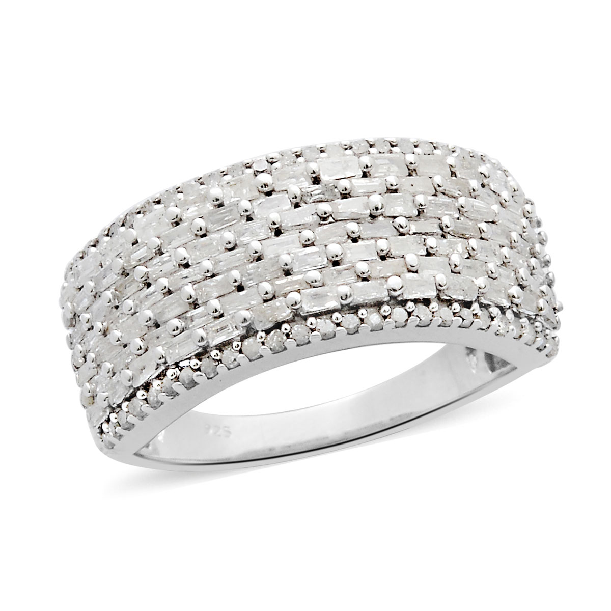 Diamond Band Ring in Platinum Over Sterling Silver (Size 10.0) 1.00 ctw