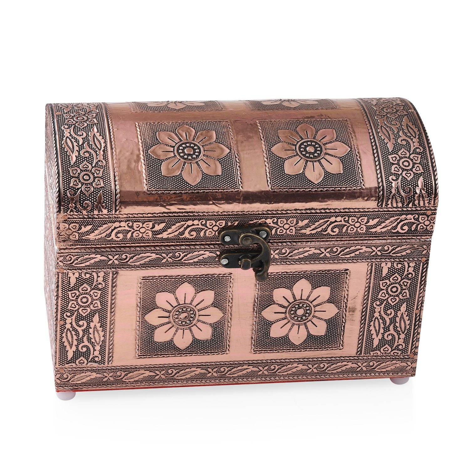 Rose Gold Oxidized Decorative Small Treasure Box 8x4.35x5.5""