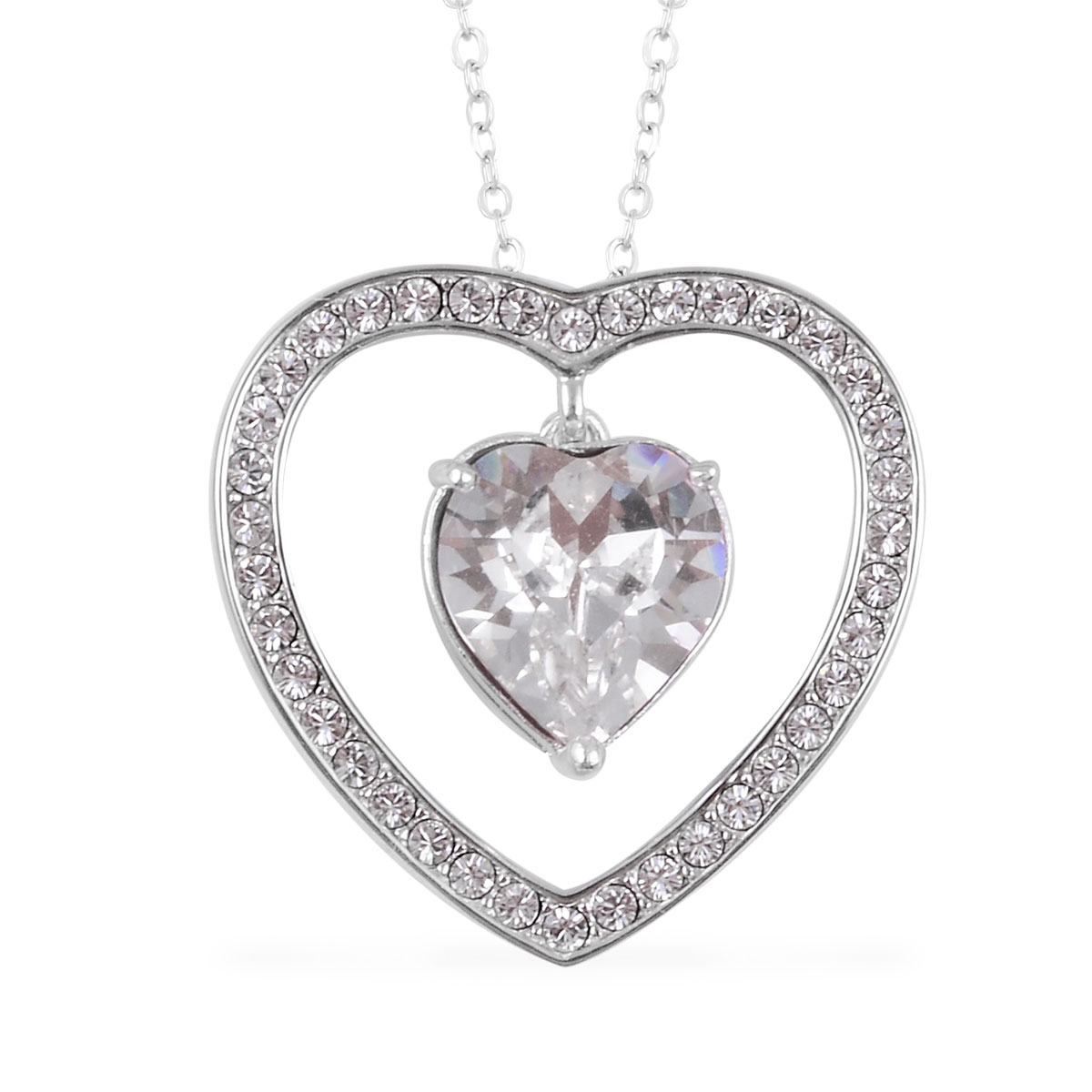 a10f1cb816 From the Heart White SWAROVSKI Crystal Heart Pendant Necklace in 14K RG  Over Sterling Silver (18 in)
