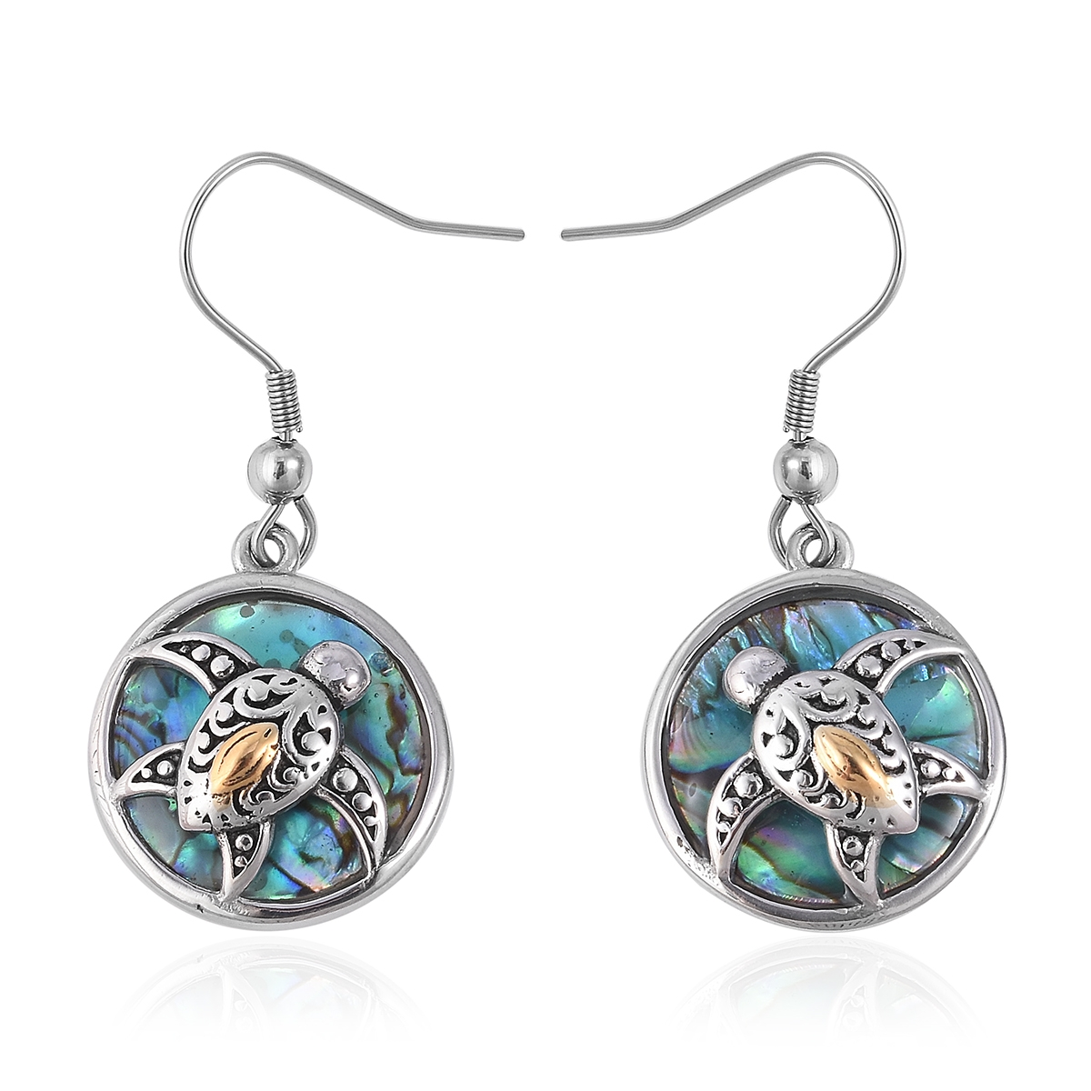 Abalone Shell Black Oxidized ION Plated YG and Stainless Steel Turtle Earrings