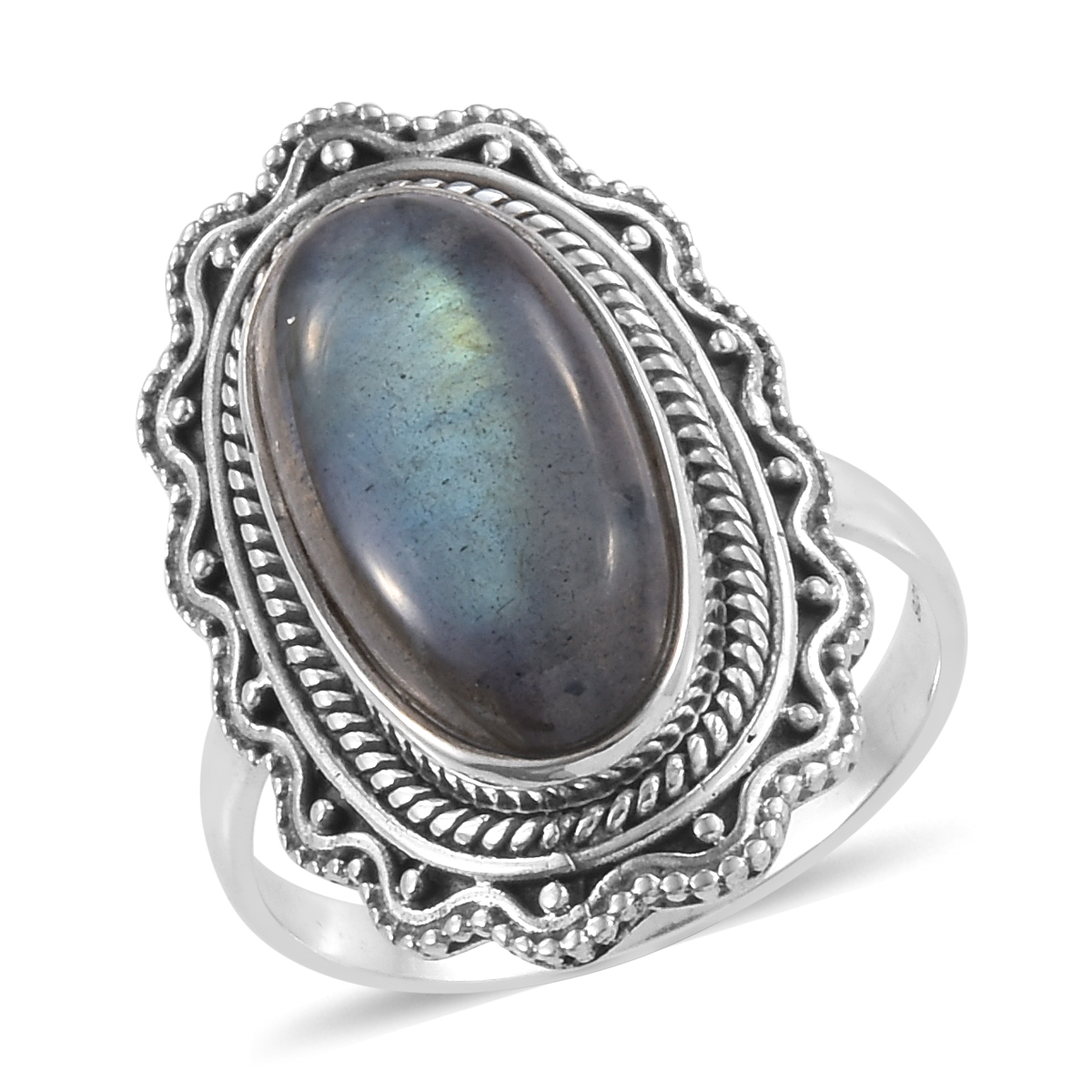 598a406bf1 Artisan Crafted Malagasy Labradorite Sterling Silver Elongated Ring (Size  5.0) TGW 10.81 cts. | Shop LC