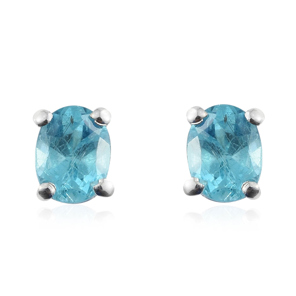 d10757128 Madagascar Paraiba Apatite Stud Earrings in Sterling Silver 0.75 ctw ...