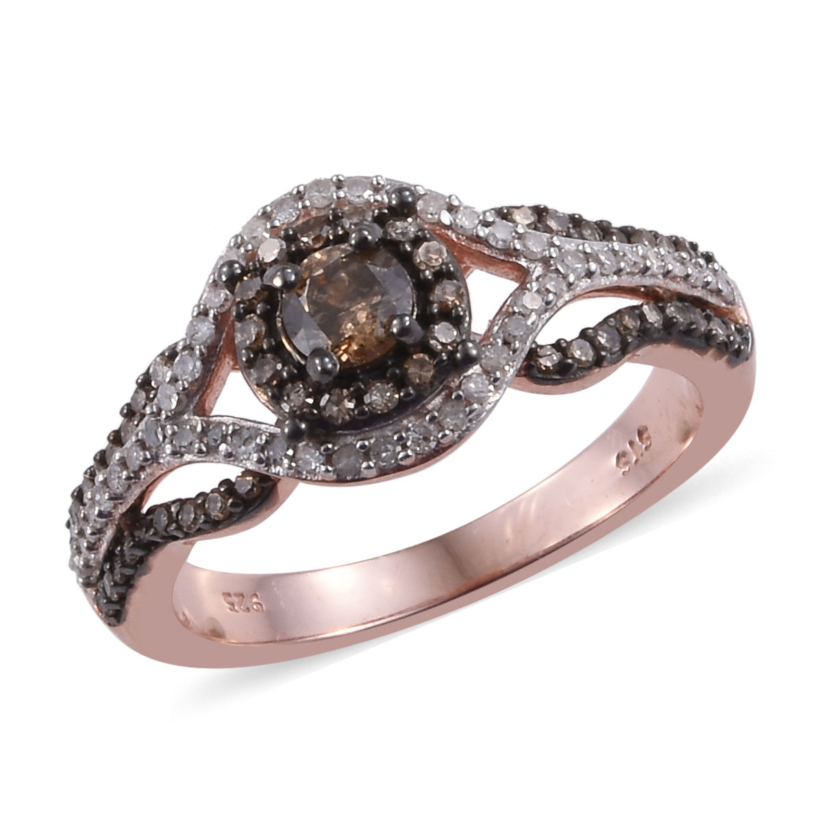 Natural Champagne and White Diamond (0.27 ct) Openwork Ring in Rhodium & Vermeil RG Over Sterling Silver (Size 6.0) 1.00 ctw