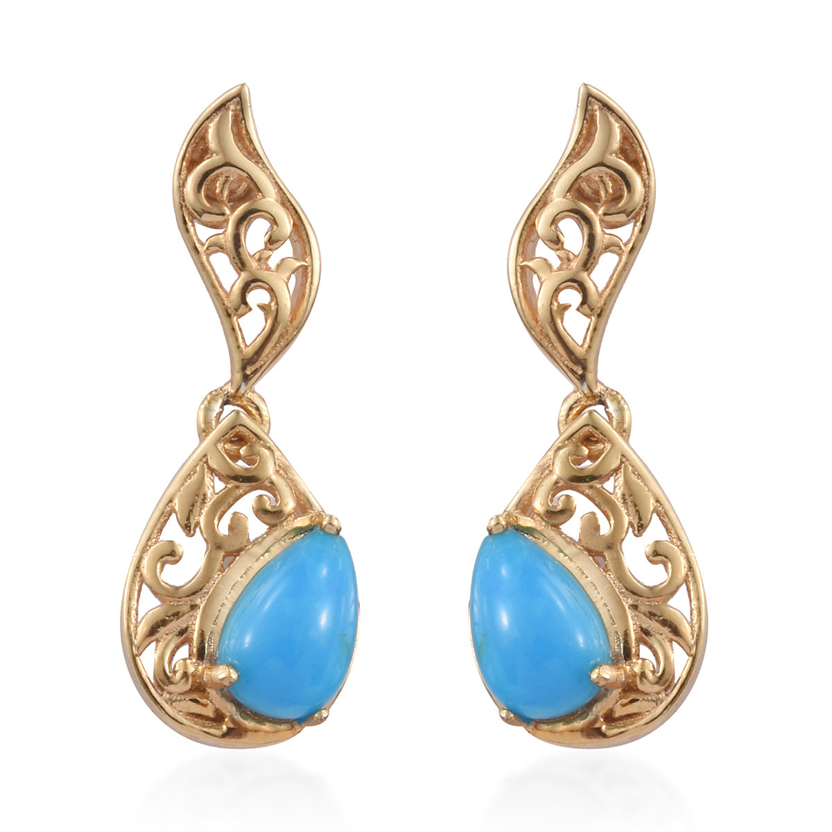 52bb404ab Arizona Sleeping Beauty Turquoise Vermeil YG Over Sterling Silver Dangle  Earrings TGW 1.44 cts.