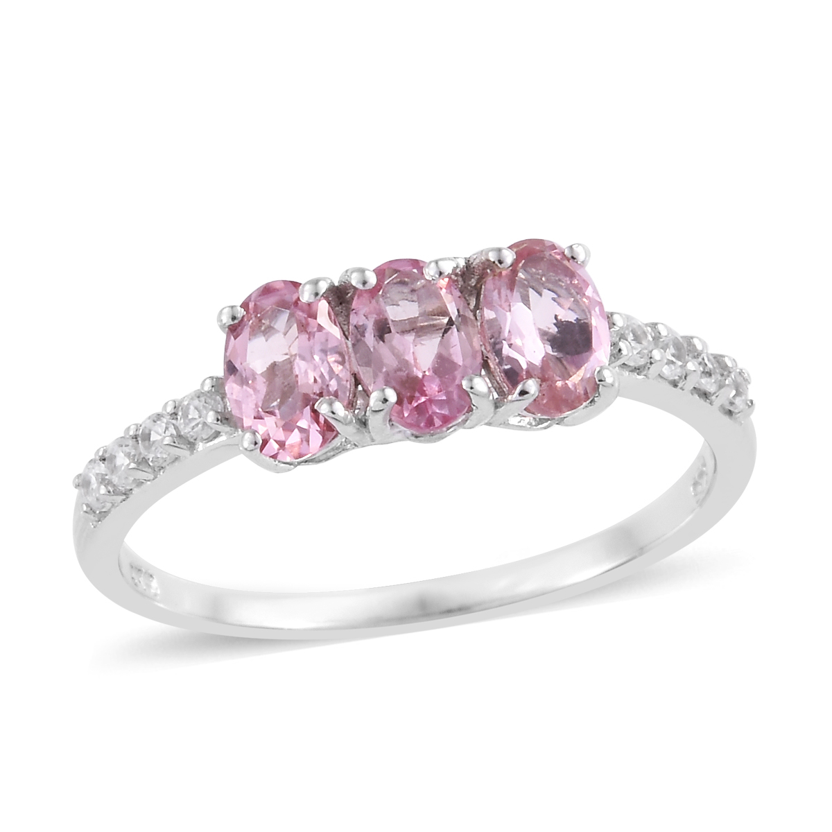 Gemstone Fine Pink Opal Fissure Filled Ruby Halo Ring Silver Platinum Plated Size 10 Ct 1.75
