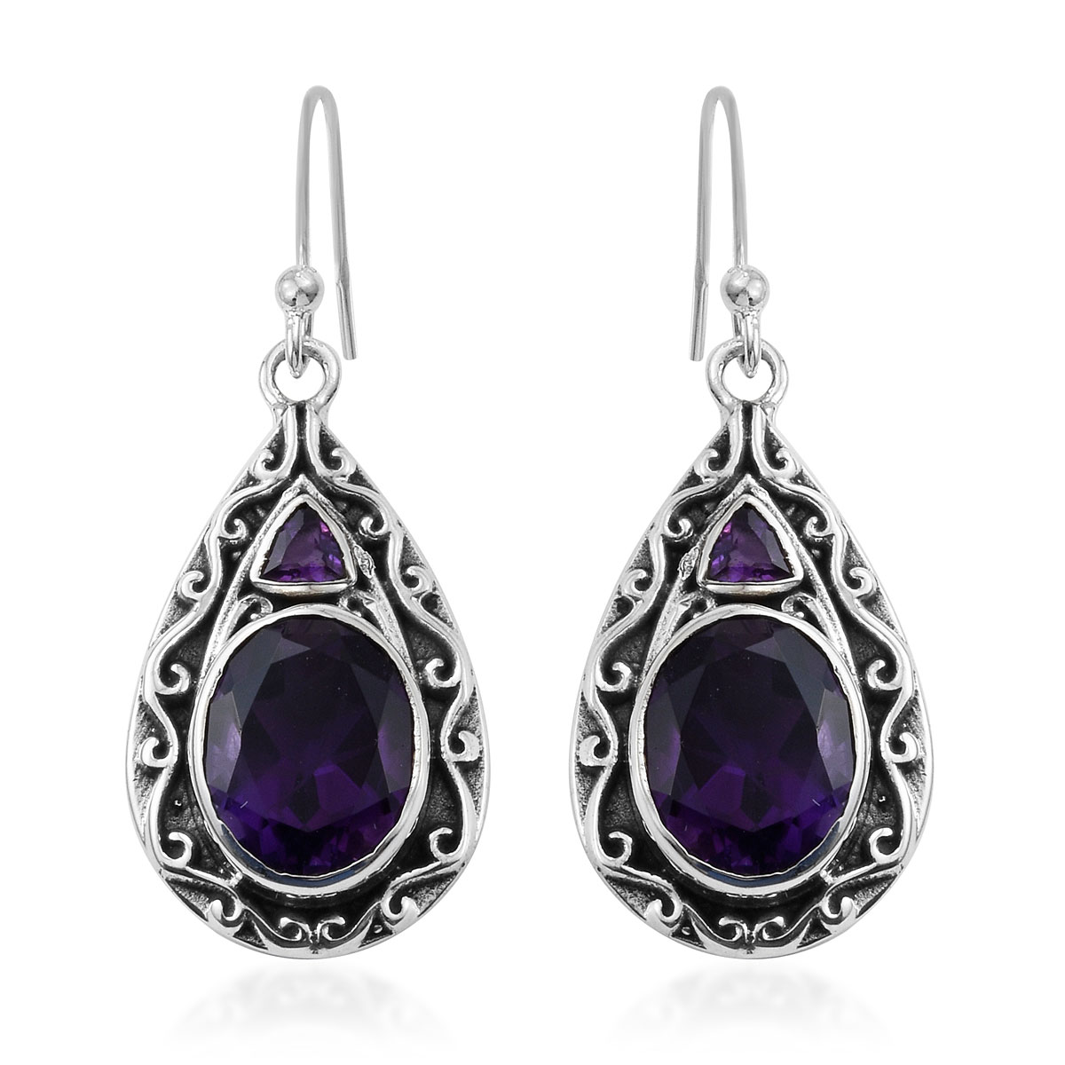 Artisan Crafted Lusaka Amethyst Earrings in Sterling Silver 4.73 ctw
