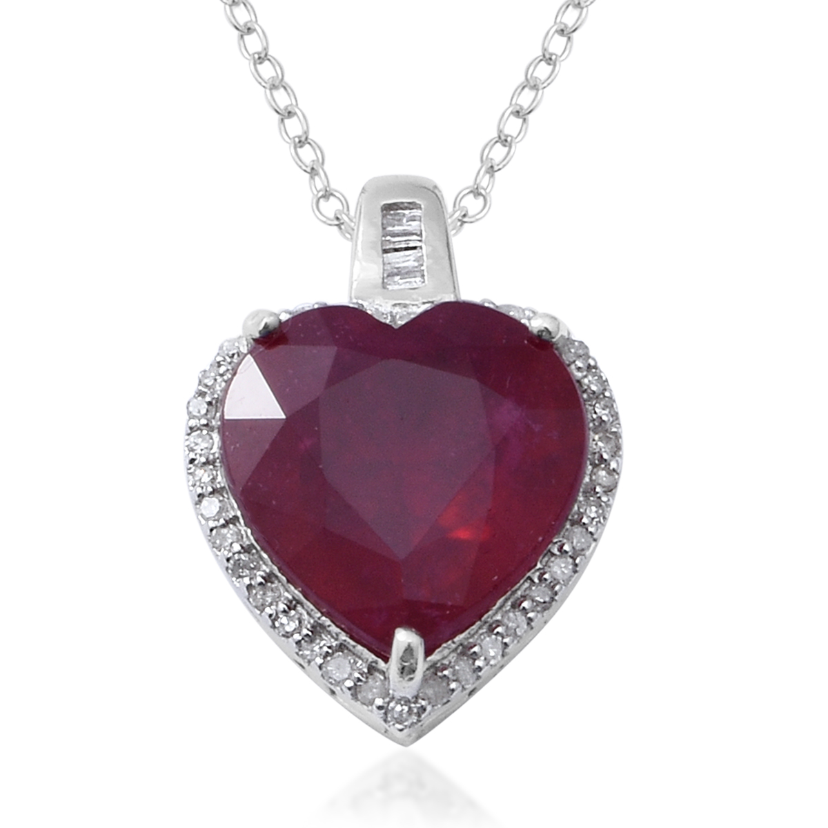 0edb570e4 African Ruby, Diamond Platinum Over Sterling Silver Heart Pendant With  Chain (18 in) 9.23 ctw | Shop LC