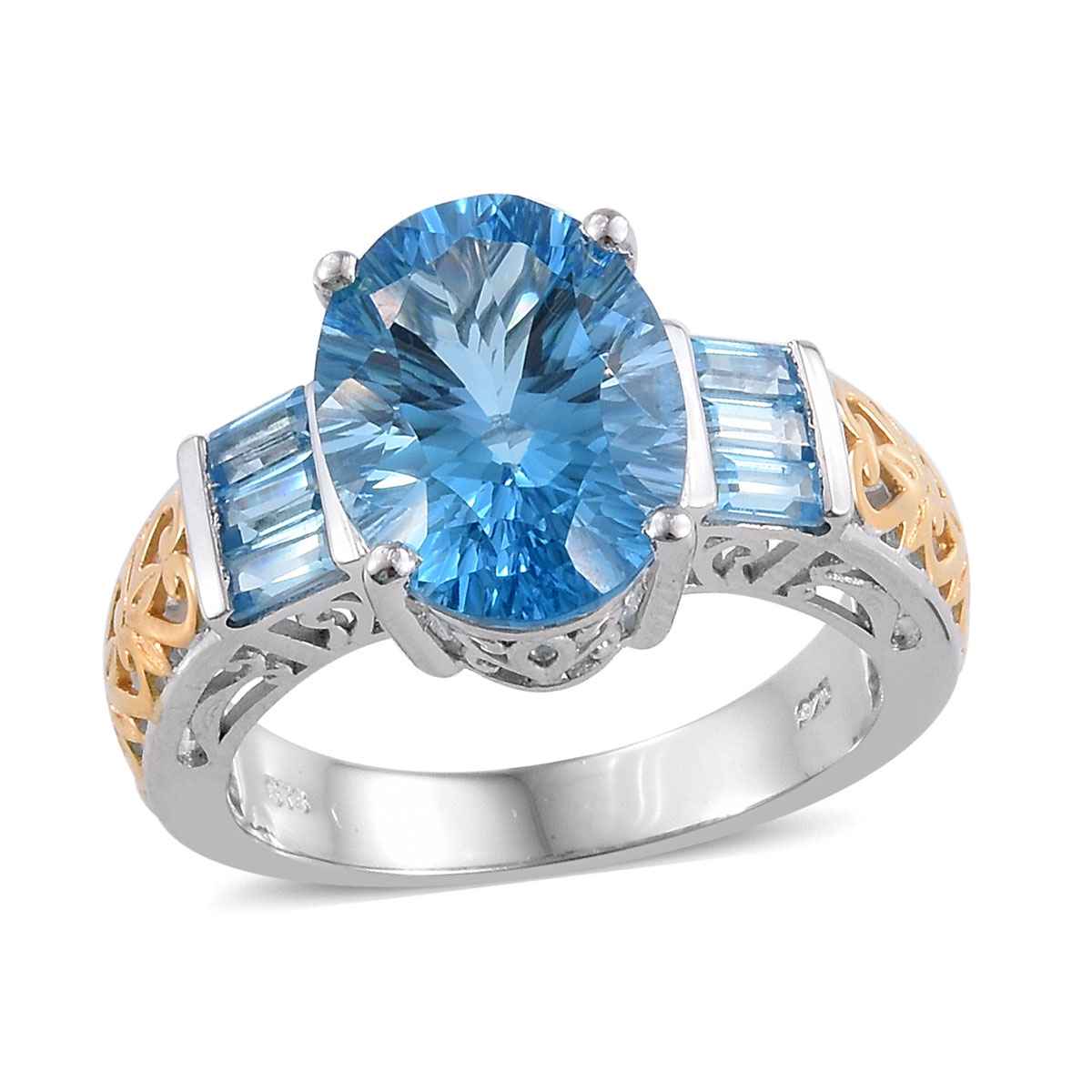 Premium Swiss Blue Topaz Ring in Vermeil YG and Platinum Over Sterling Silver (Size 9.0) 10.25 ctw
