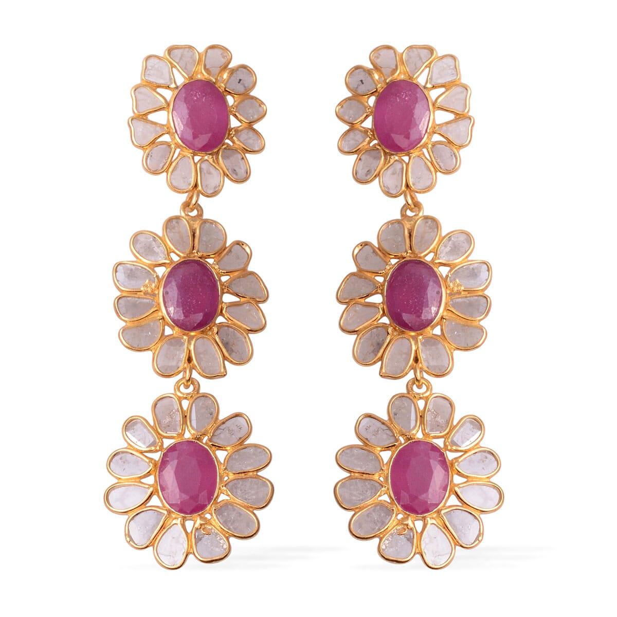 d49f19431076b Ruby, Polki Diamond (3.75 ct) Dangle Earrings in Vermeil YG Over Sterling  Silver 13.95 ctw