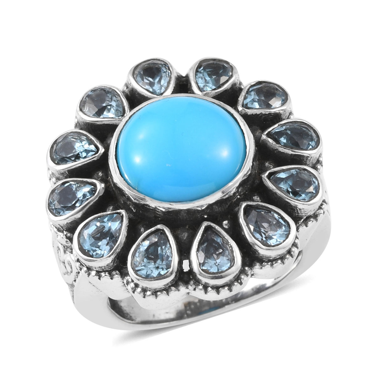 Artisan Crafted Arizona Sleeping Beauty Turquoise, Electric Blue Topaz Ring in Sterling Silver (Size 7.0) 5.19 ctw