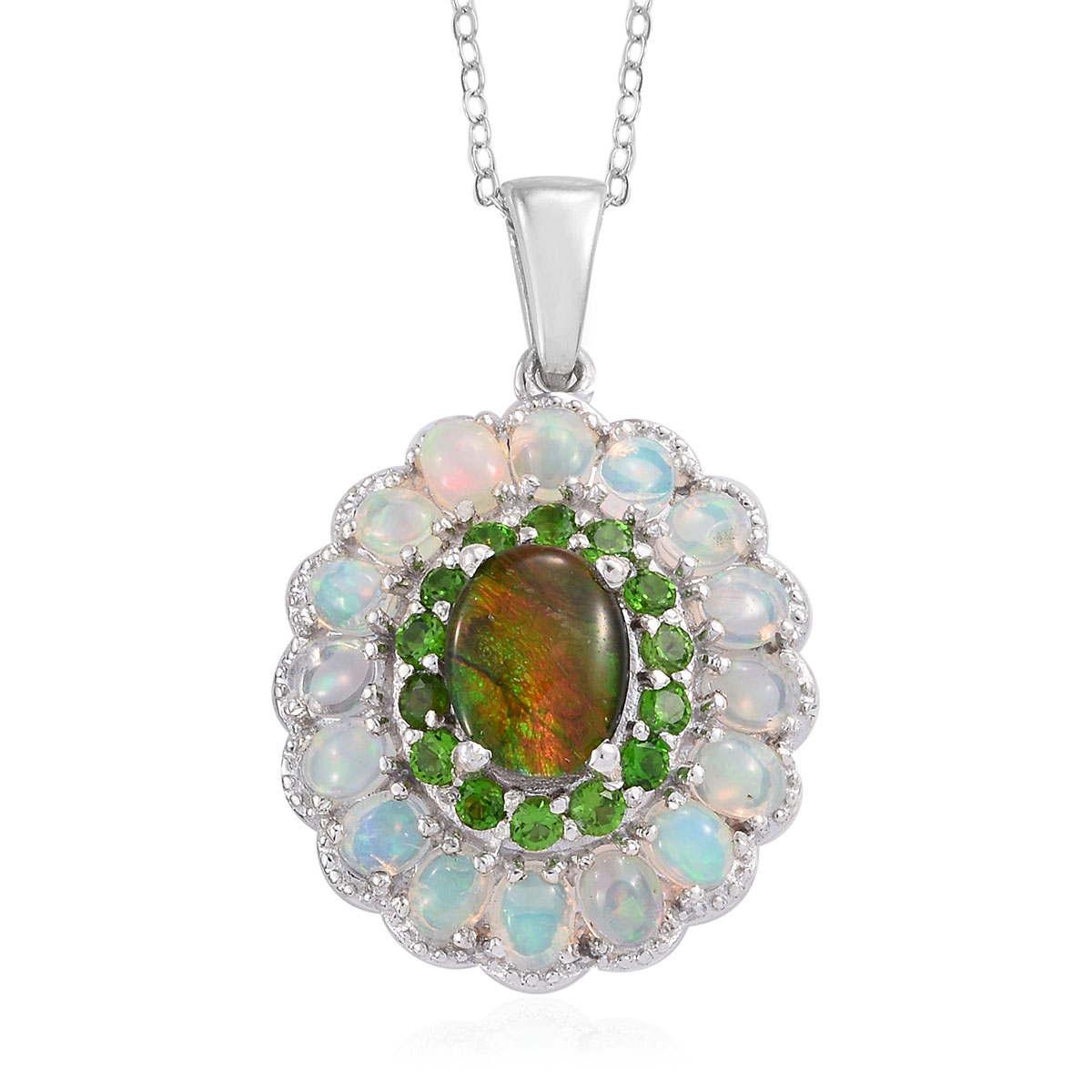 723145775 Canadian Ammolite, Multi Gemstone Pendant Necklace (20 in) in Platinum Over  Sterling Silver ...