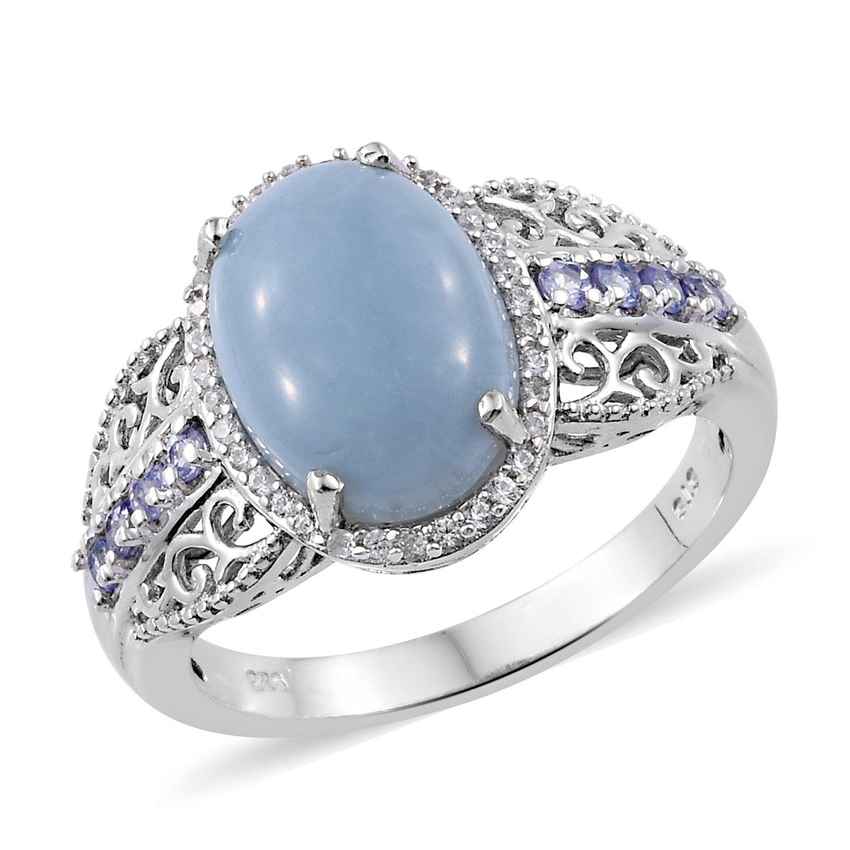 3c21b5987ce India Blue Opal, Multi Gemstone Ring (Size 7.0) in Platinum Over Sterling  Silver 5.15 ctw   Shop LC