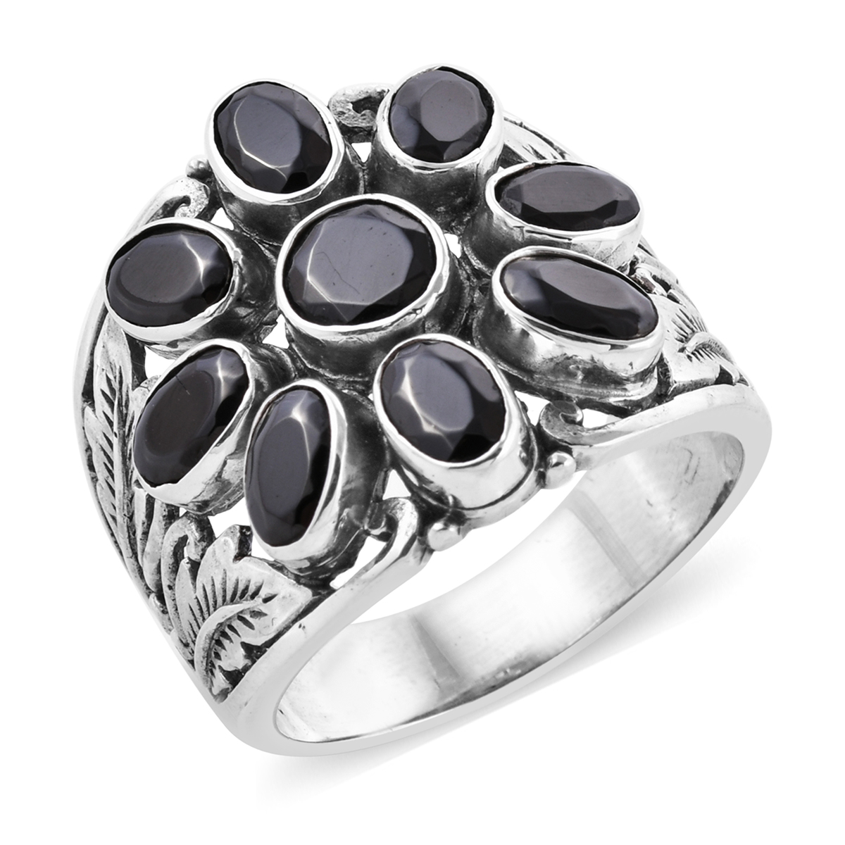 Bali Legacy Silver Shungite Ring in Sterling Silver (Size 6 0) 2 77 ctw
