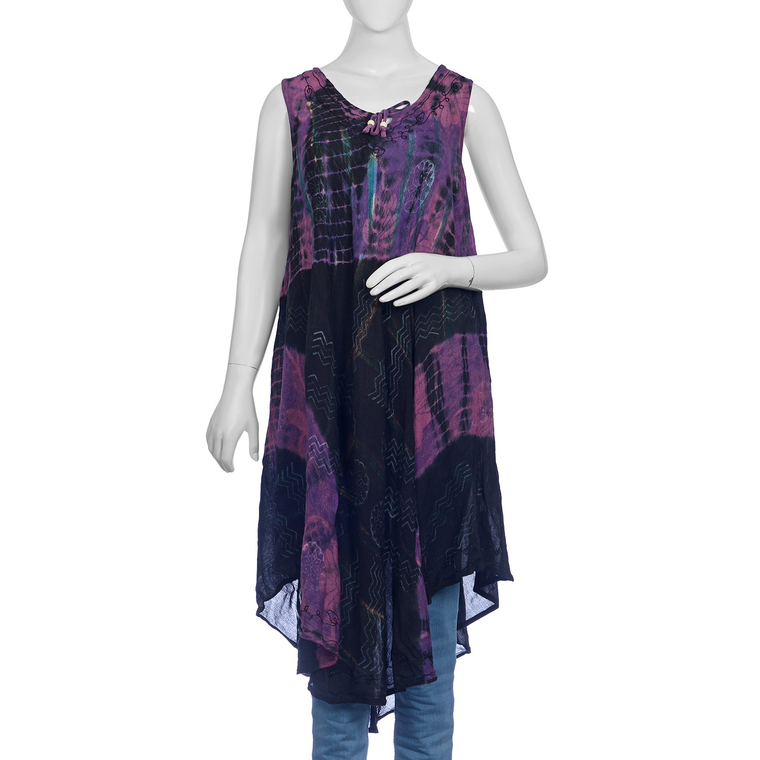 Black Tie & Dye And Block Printed Umbrella Dress (48x44