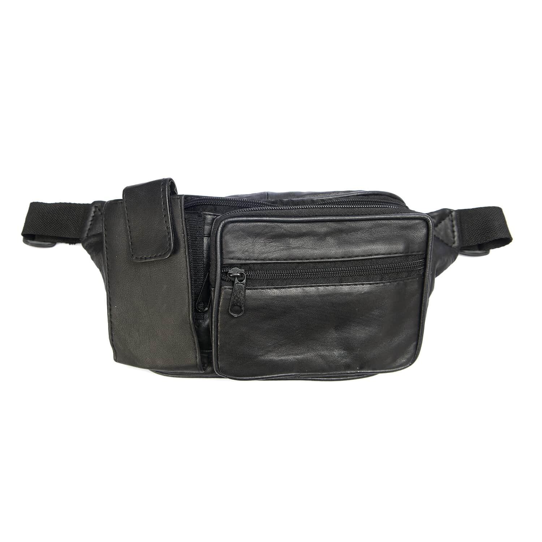 eccc6b7eada NEWAGE Black Leather Multi Compartment Fanny Pack (Adjustable)